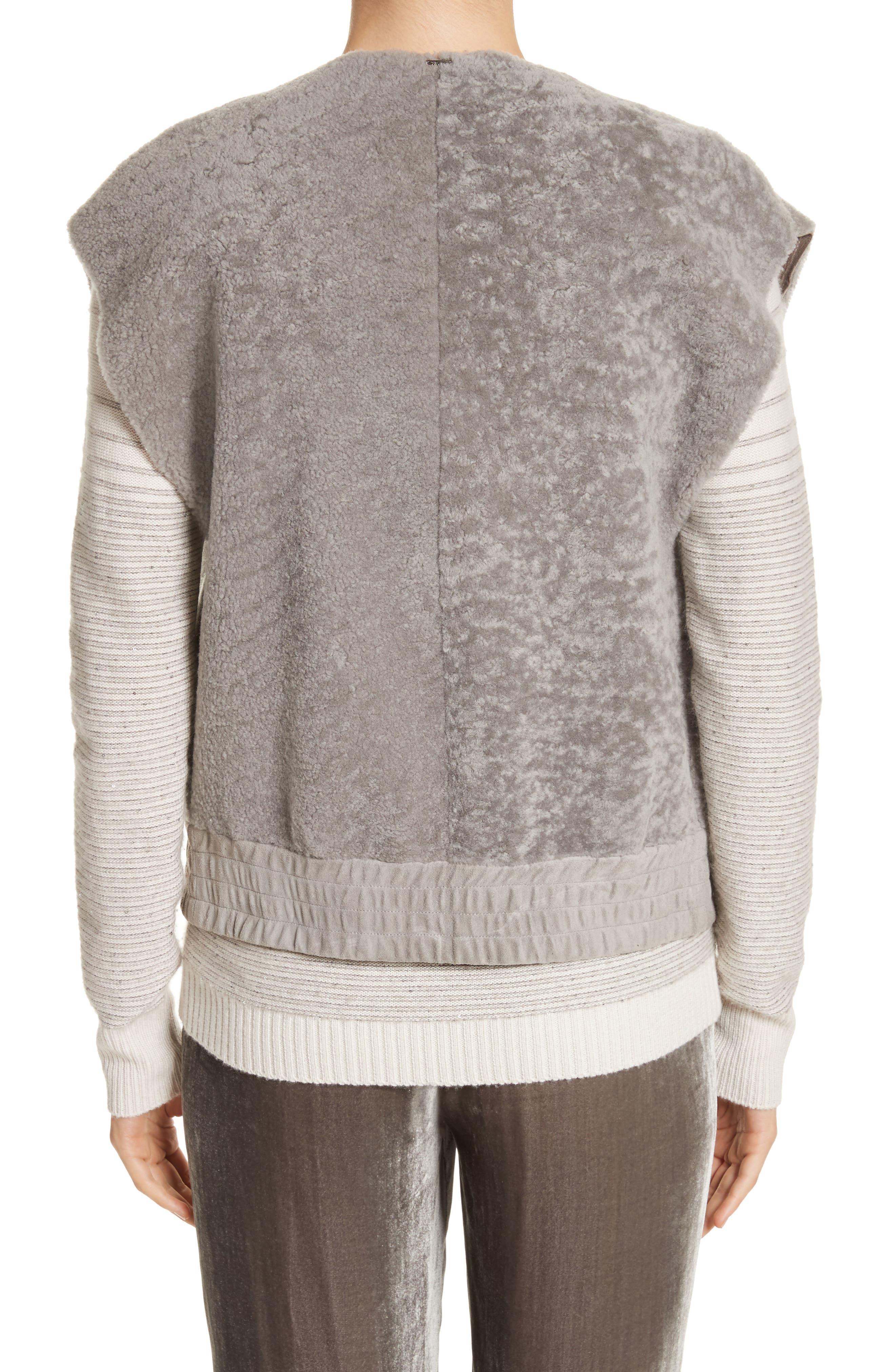 Genuine Shearling Vest,                             Alternate thumbnail 2, color,                             Travertine