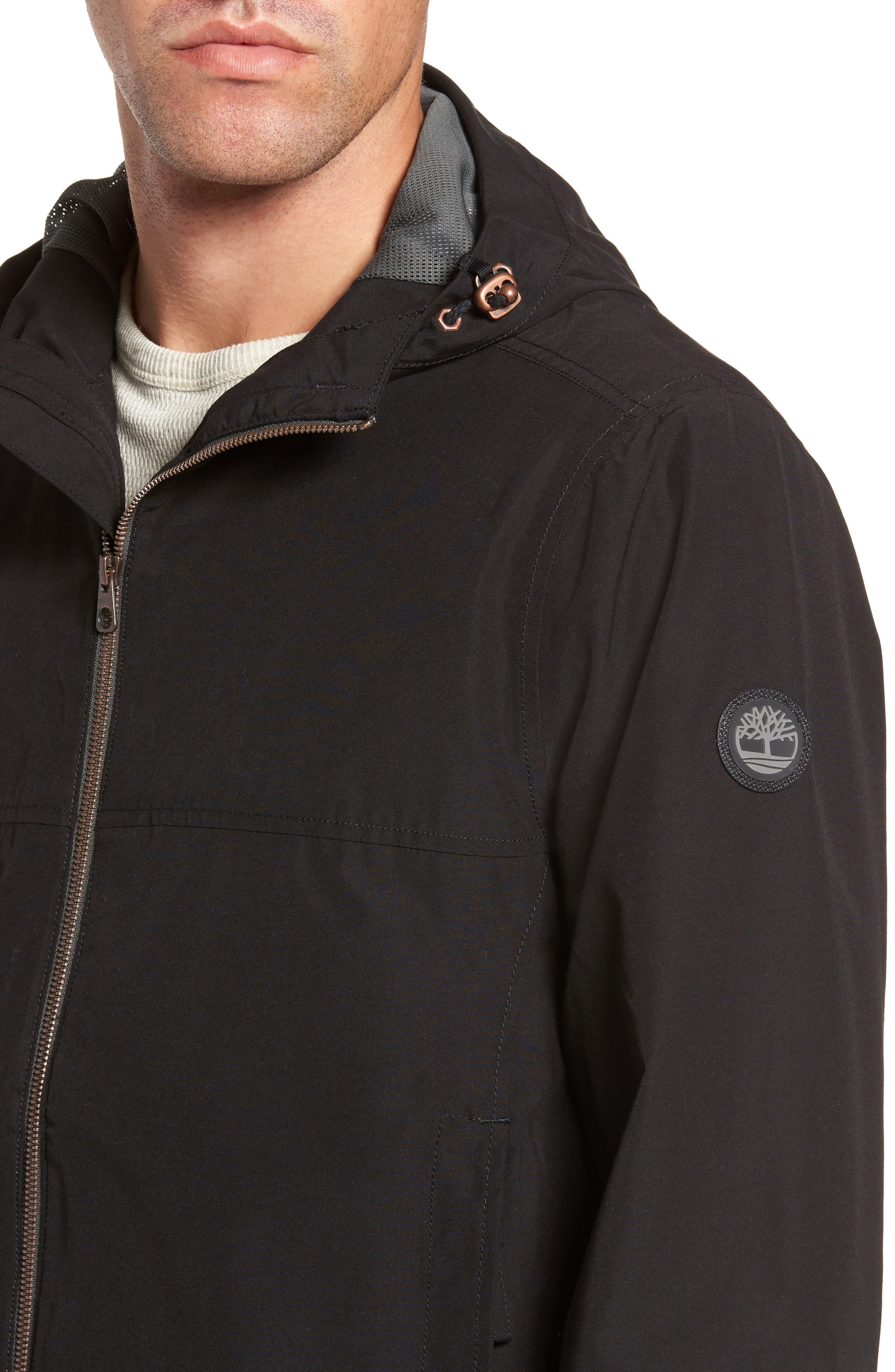 Ragged Mountain Packable Waterproof Jacket,                             Alternate thumbnail 4, color,                             Black