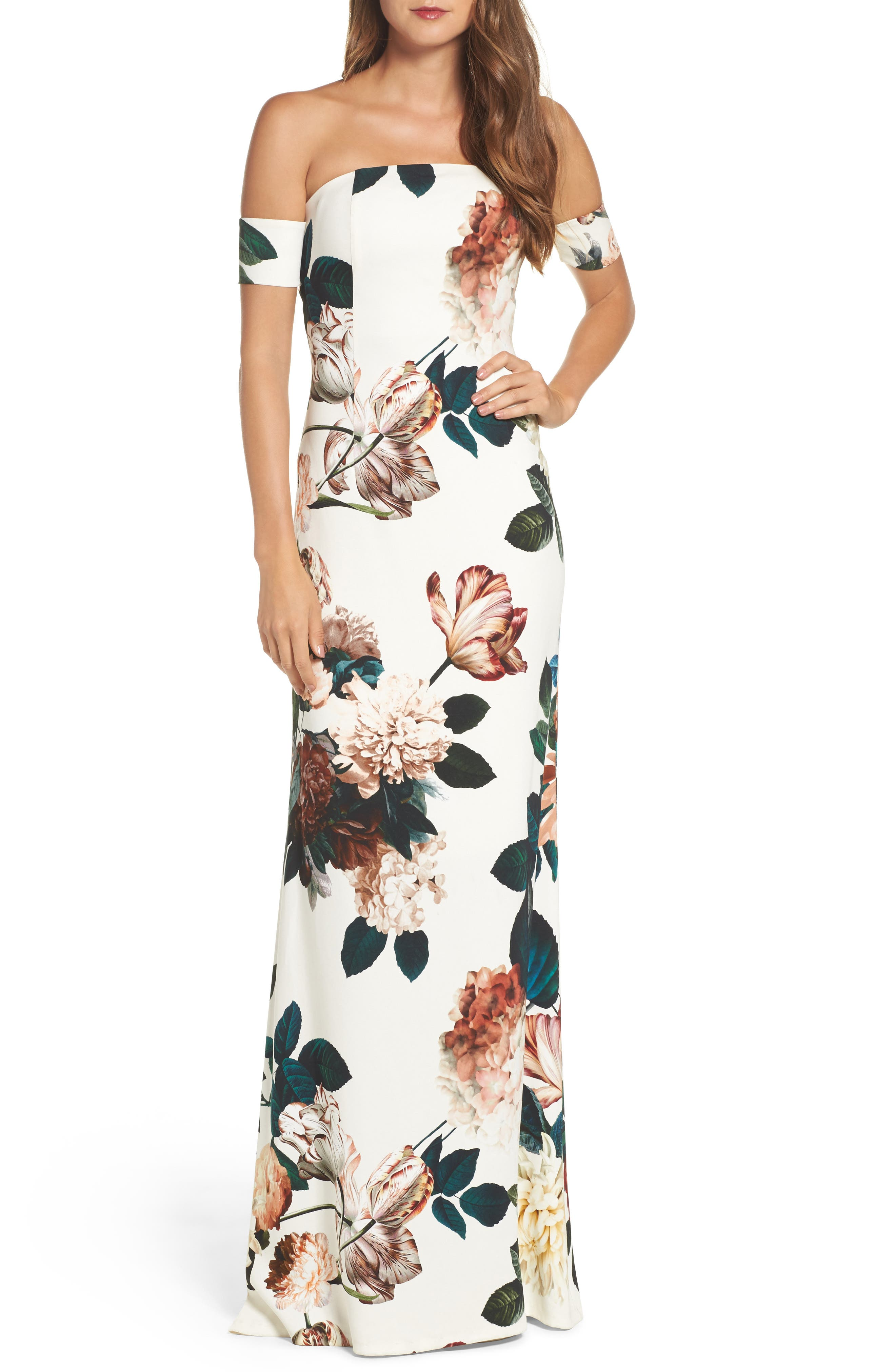 Sahni Floral Off the Shoulder Gown,                         Main,                         color, Ivory