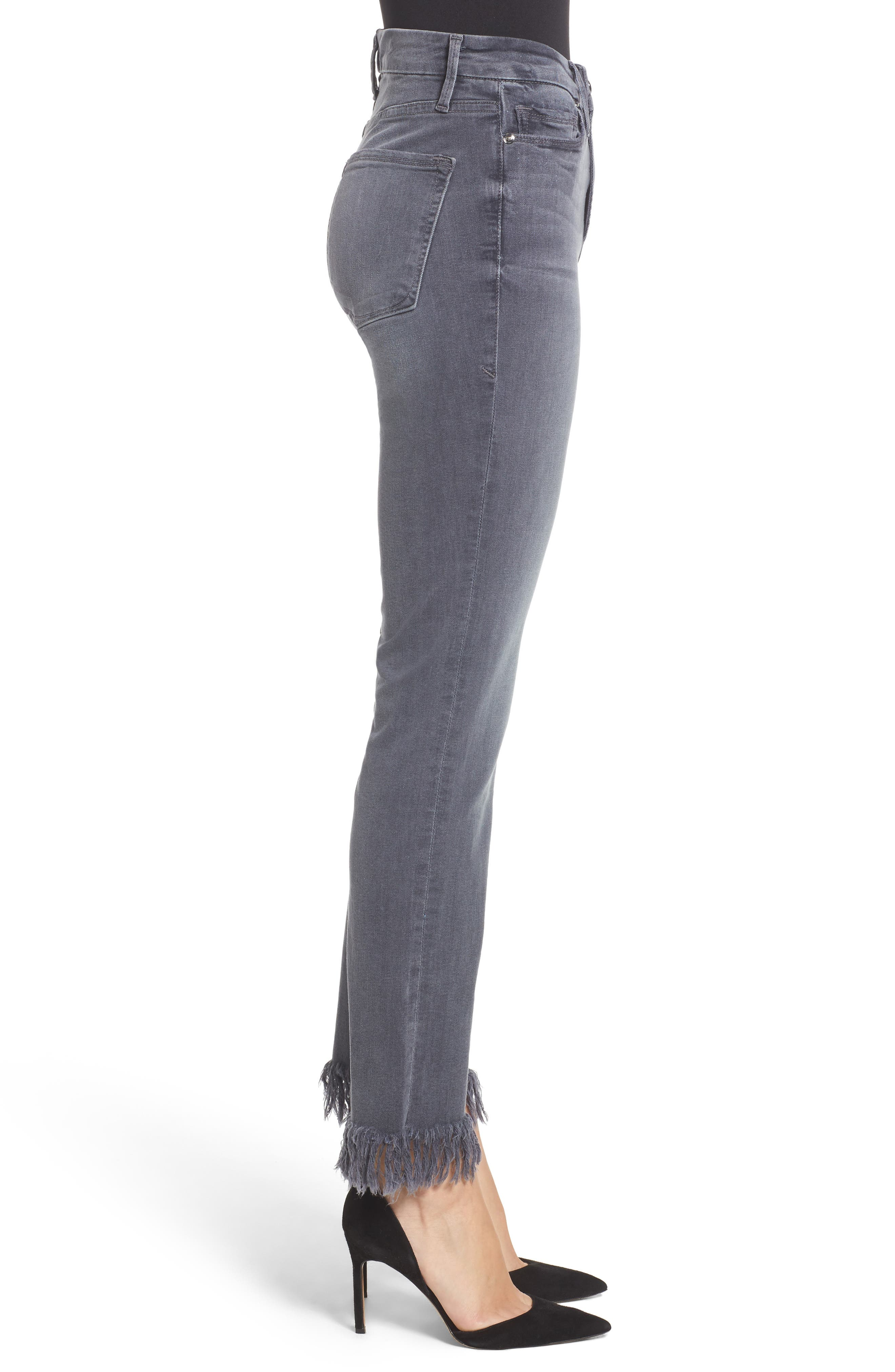 Alternate Image 4  - Good American Good Straight Crop Straight Leg Jeans (Grey 001) (Extended Sizes)