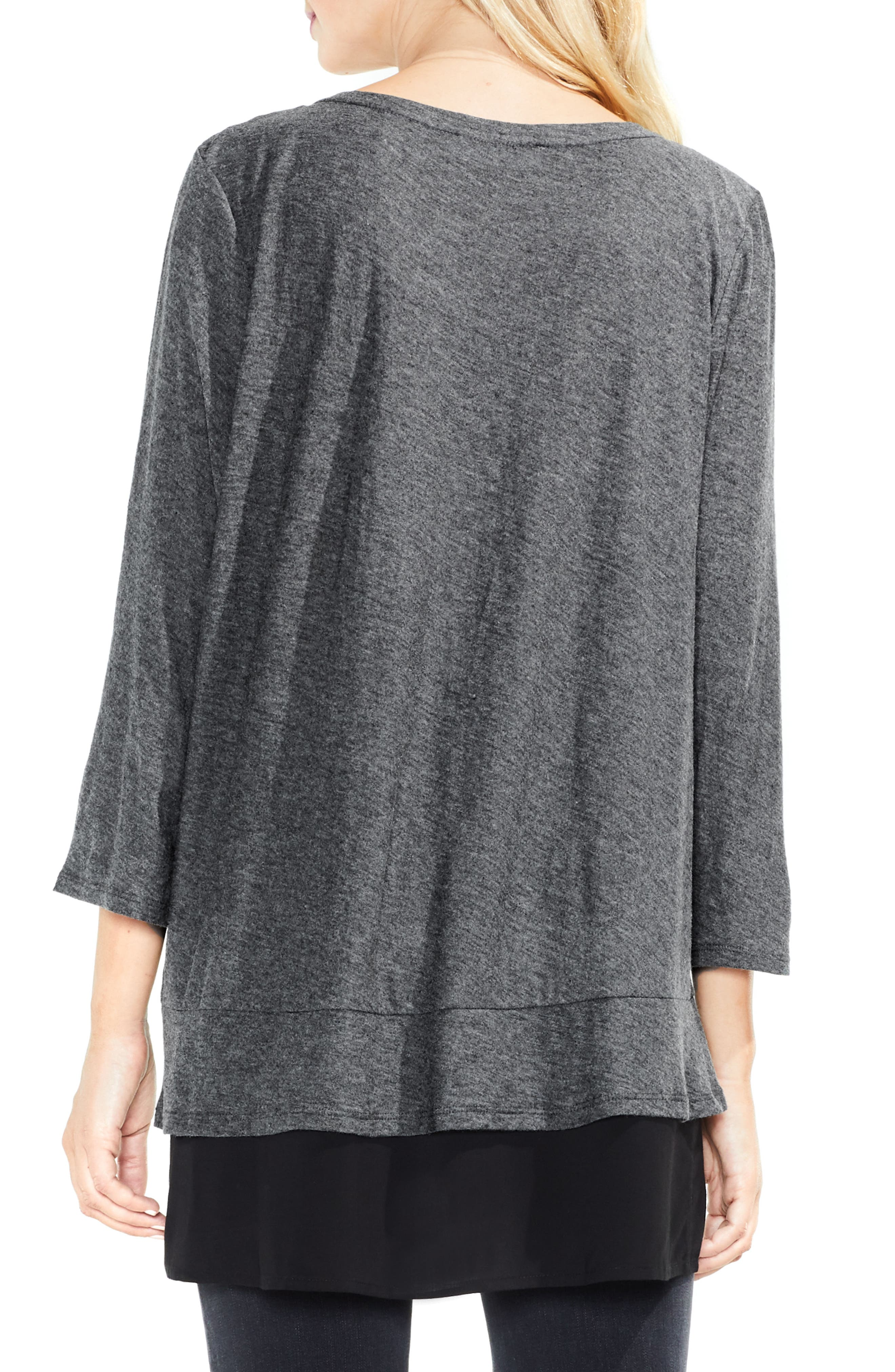 Two by Vince Camuto Mixed Media Tunic,                             Alternate thumbnail 3, color,                             Medium Heather Grey
