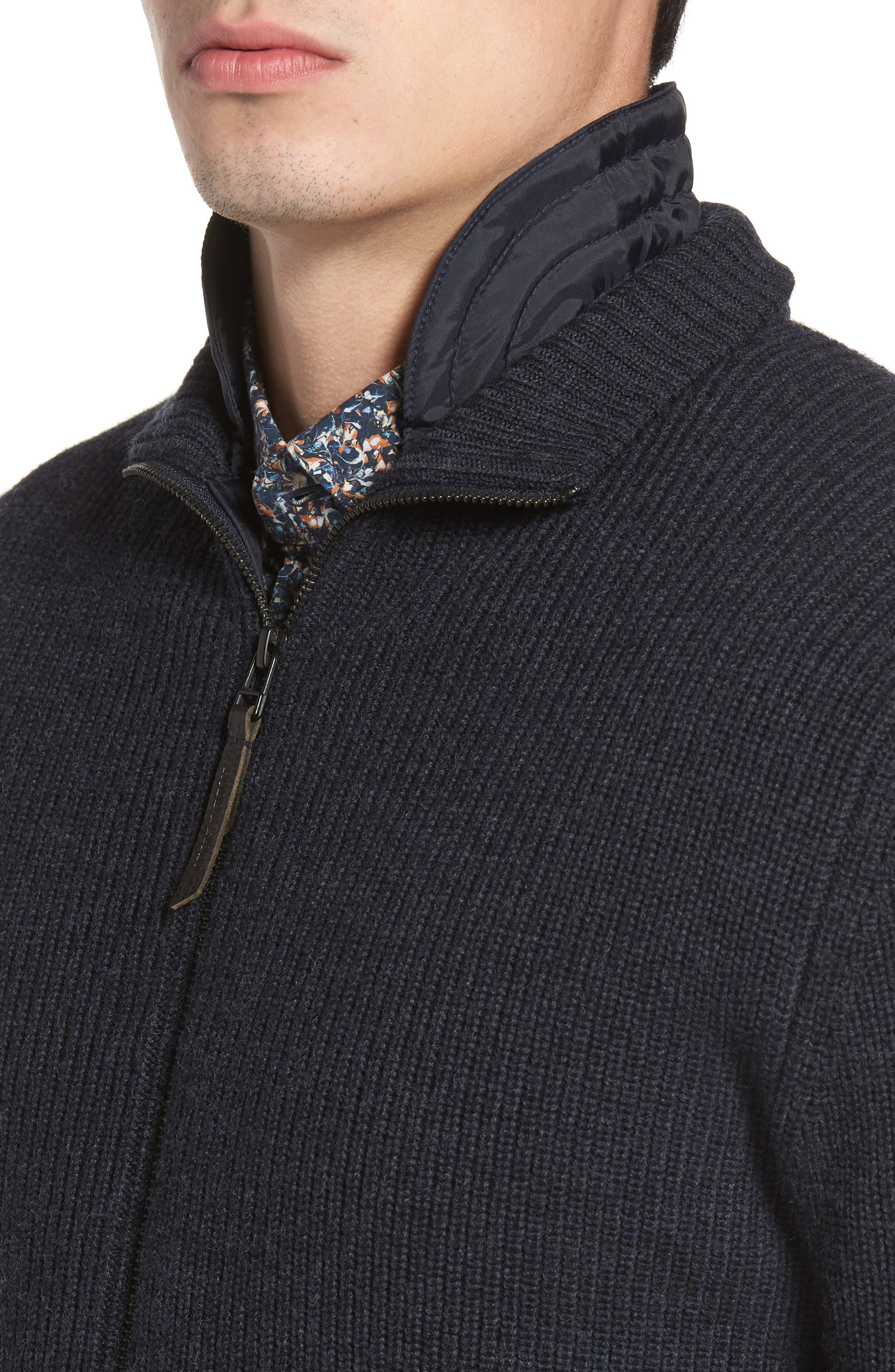 Camerons Track Zip Wool Sweater,                             Alternate thumbnail 4, color,                             Midnight