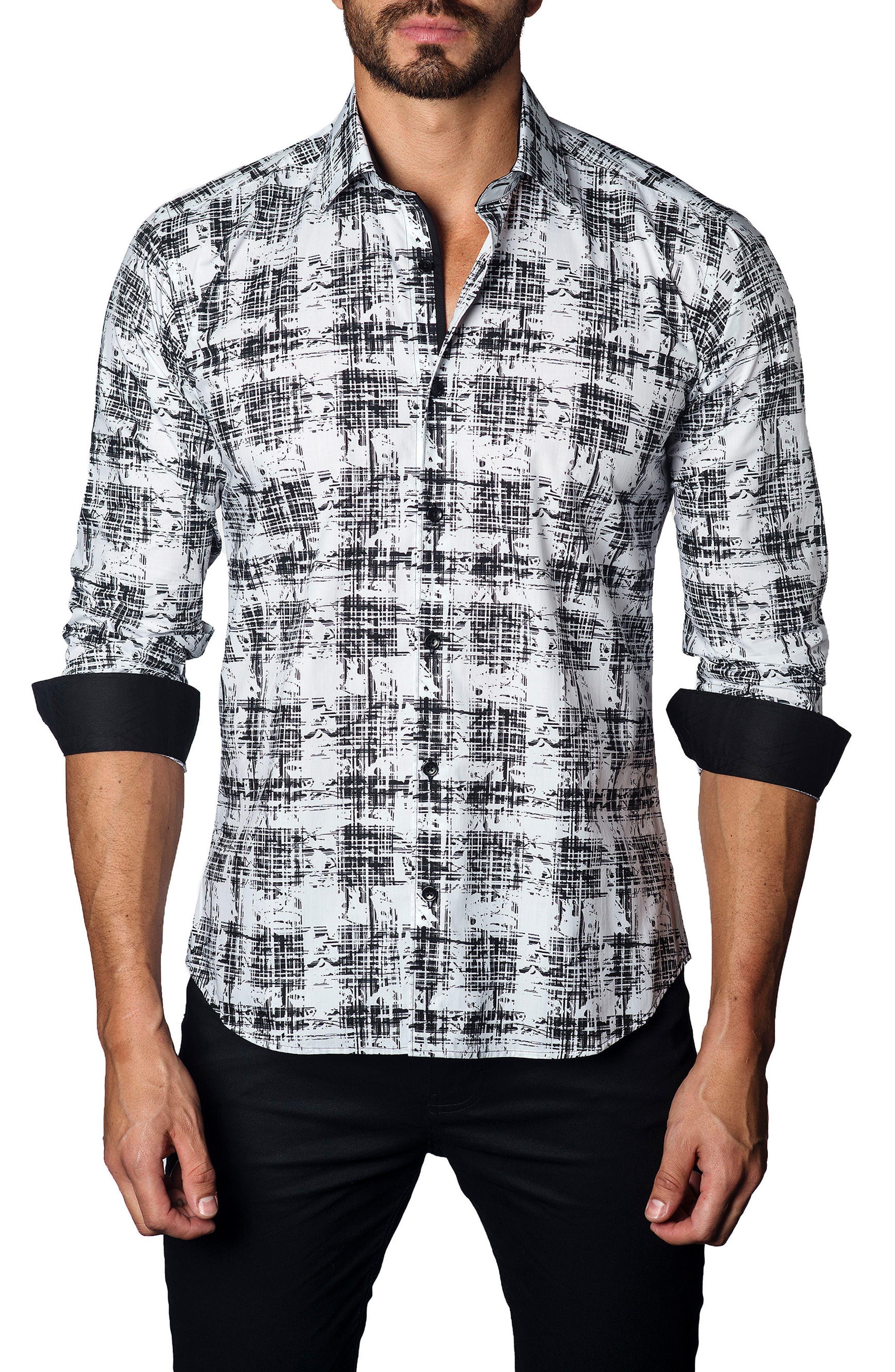 Trim Fit Distressed Plaid Sport Shirt,                             Main thumbnail 1, color,                             Black/ White