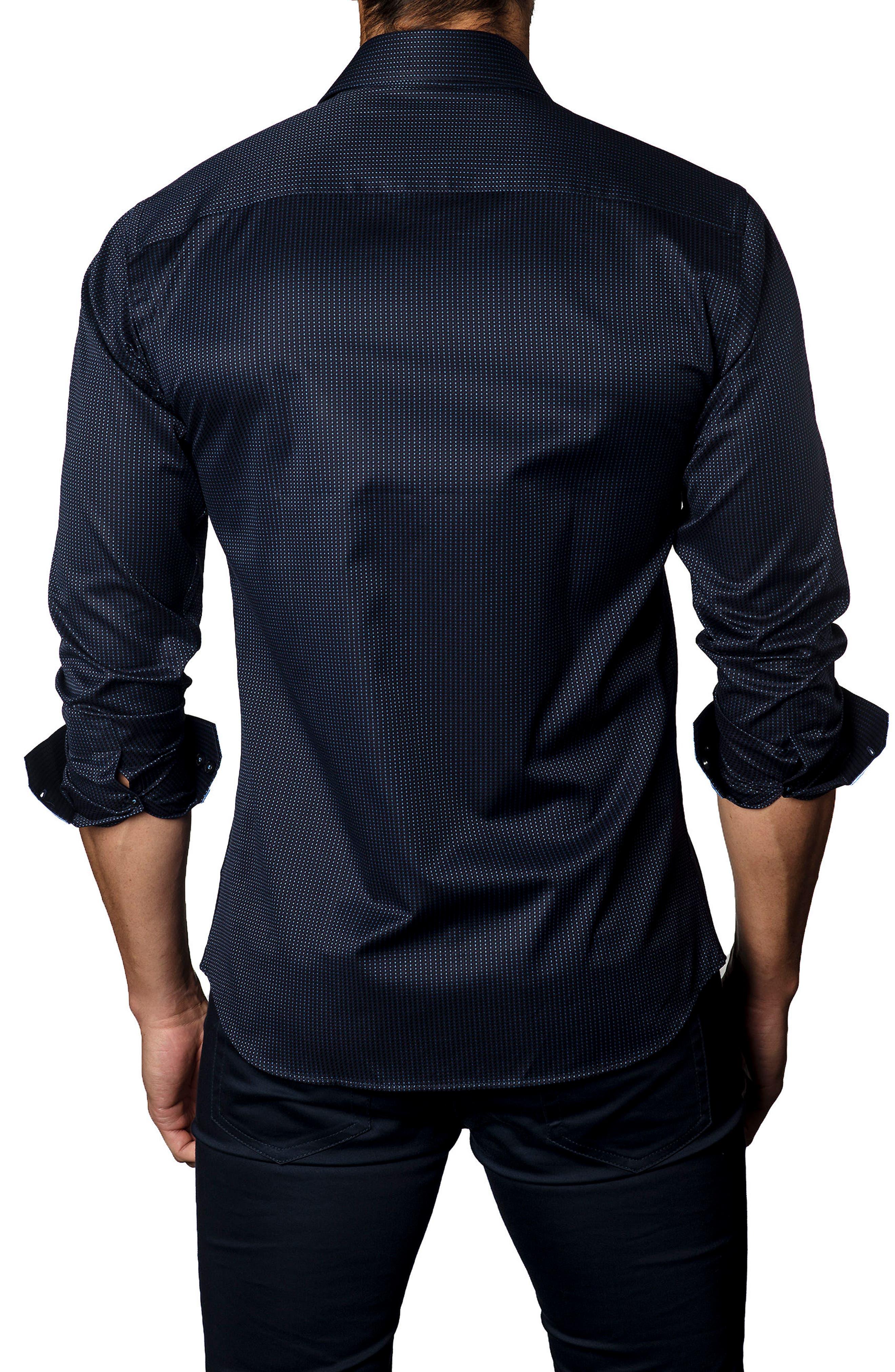 Trim Fit Dot Jacquard Sport Shirt,                             Alternate thumbnail 2, color,                             Navy Micro Dot