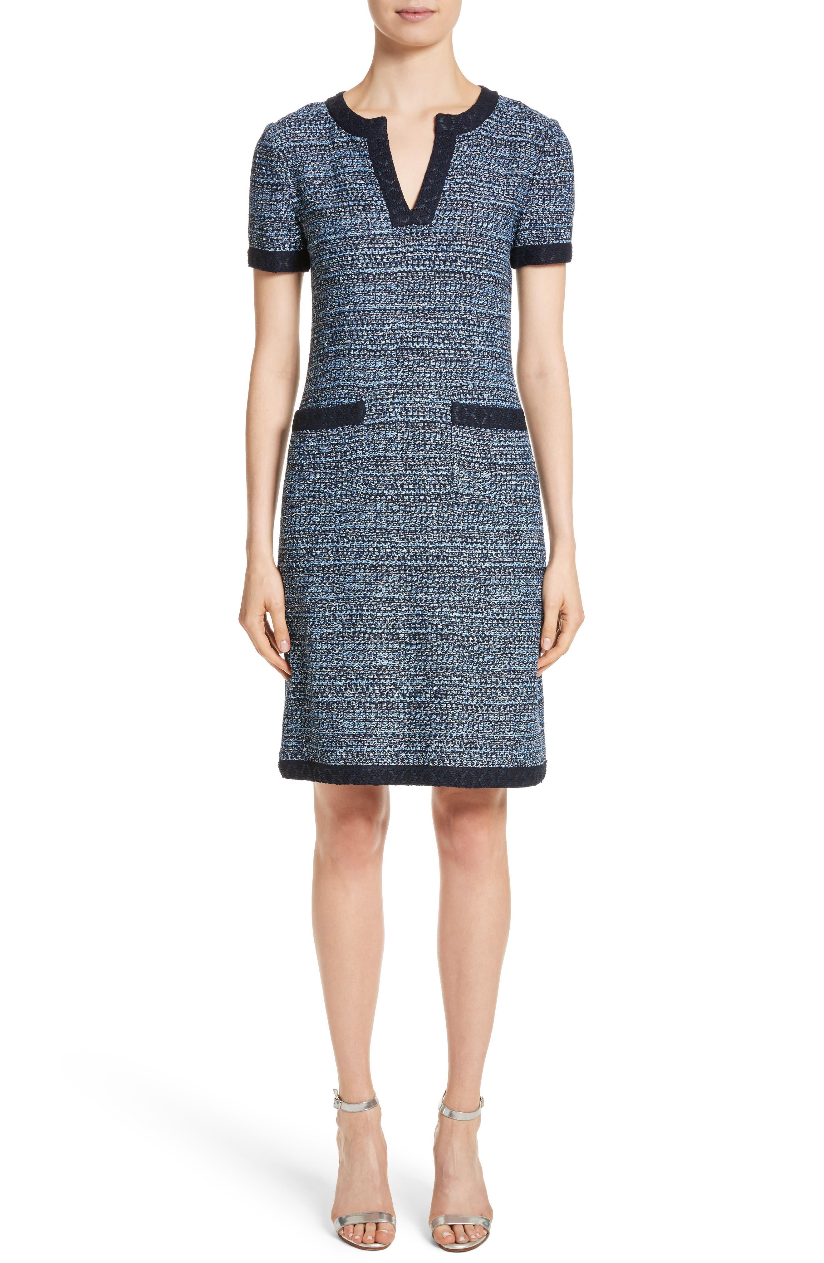 Short Sleeve Knit Dress,                         Main,                         color, Navy Multi