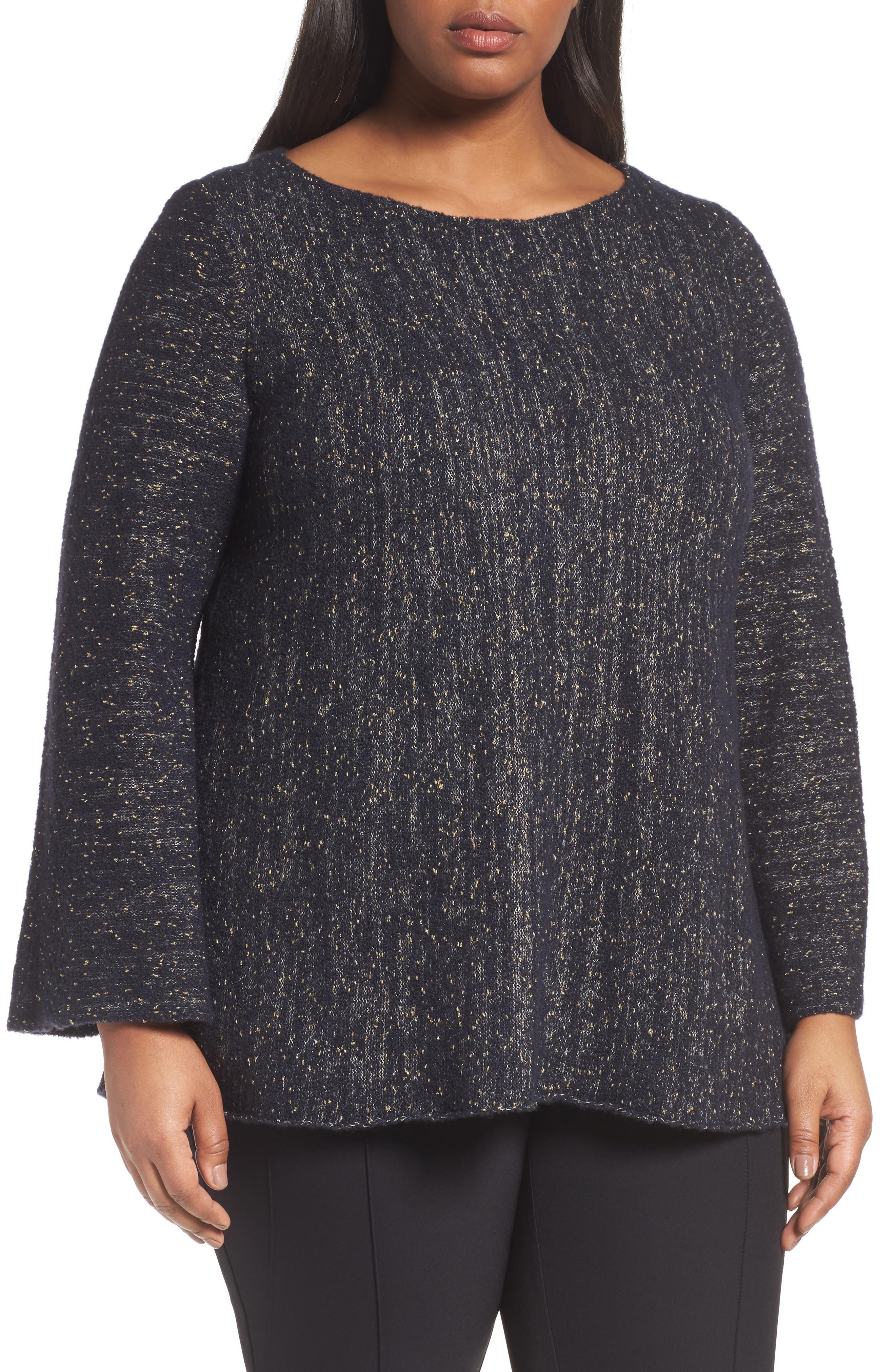 Lafayette 148 Metallic Knit A-Line Sweater,                         Main,                         color, Ink Metallic