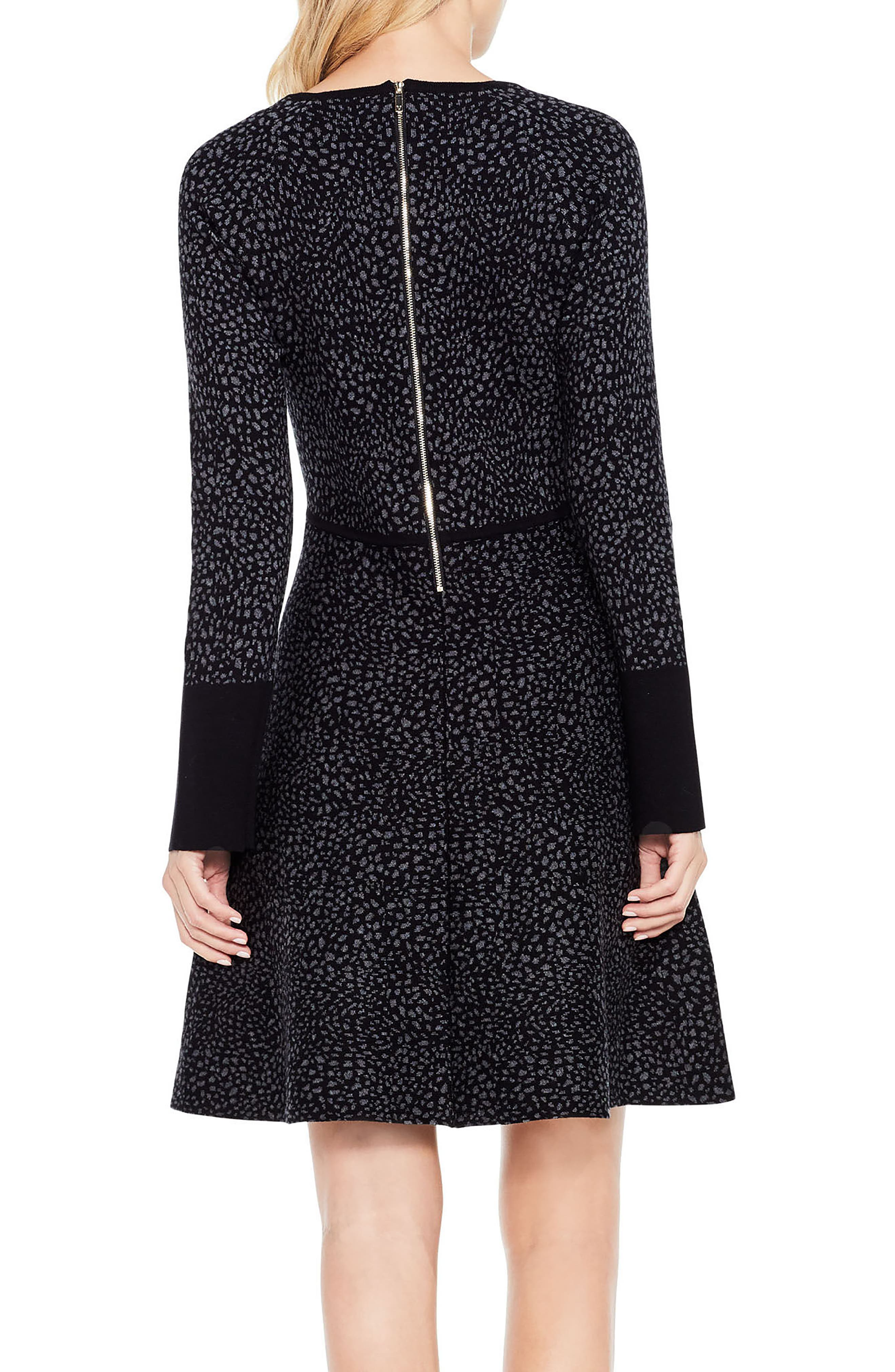 Jacquard Fit & Flare Dress,                             Alternate thumbnail 3, color,                             Rich Black