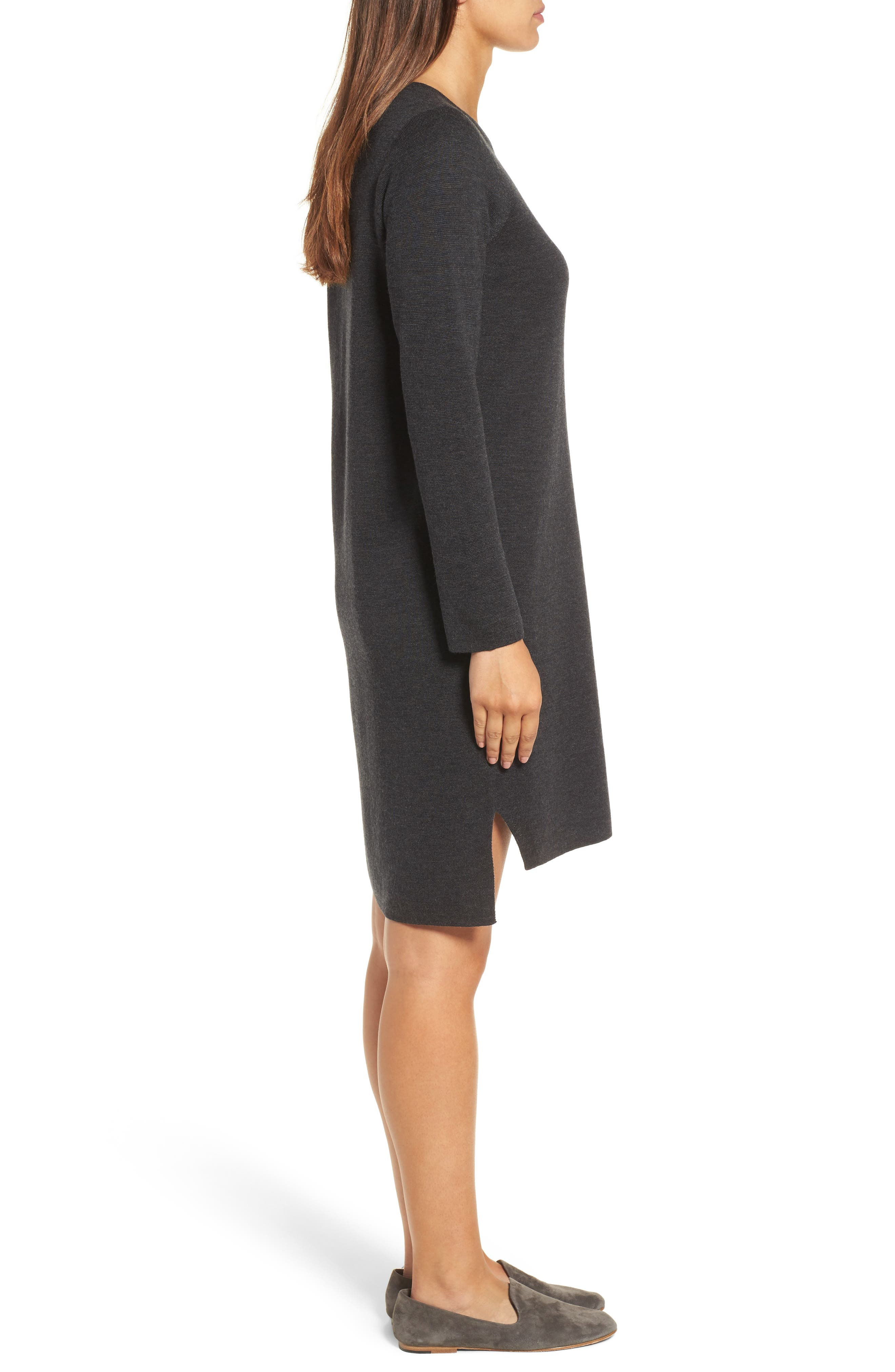 Merino Wool Sweater Dress,                             Alternate thumbnail 3, color,                             Charcoal