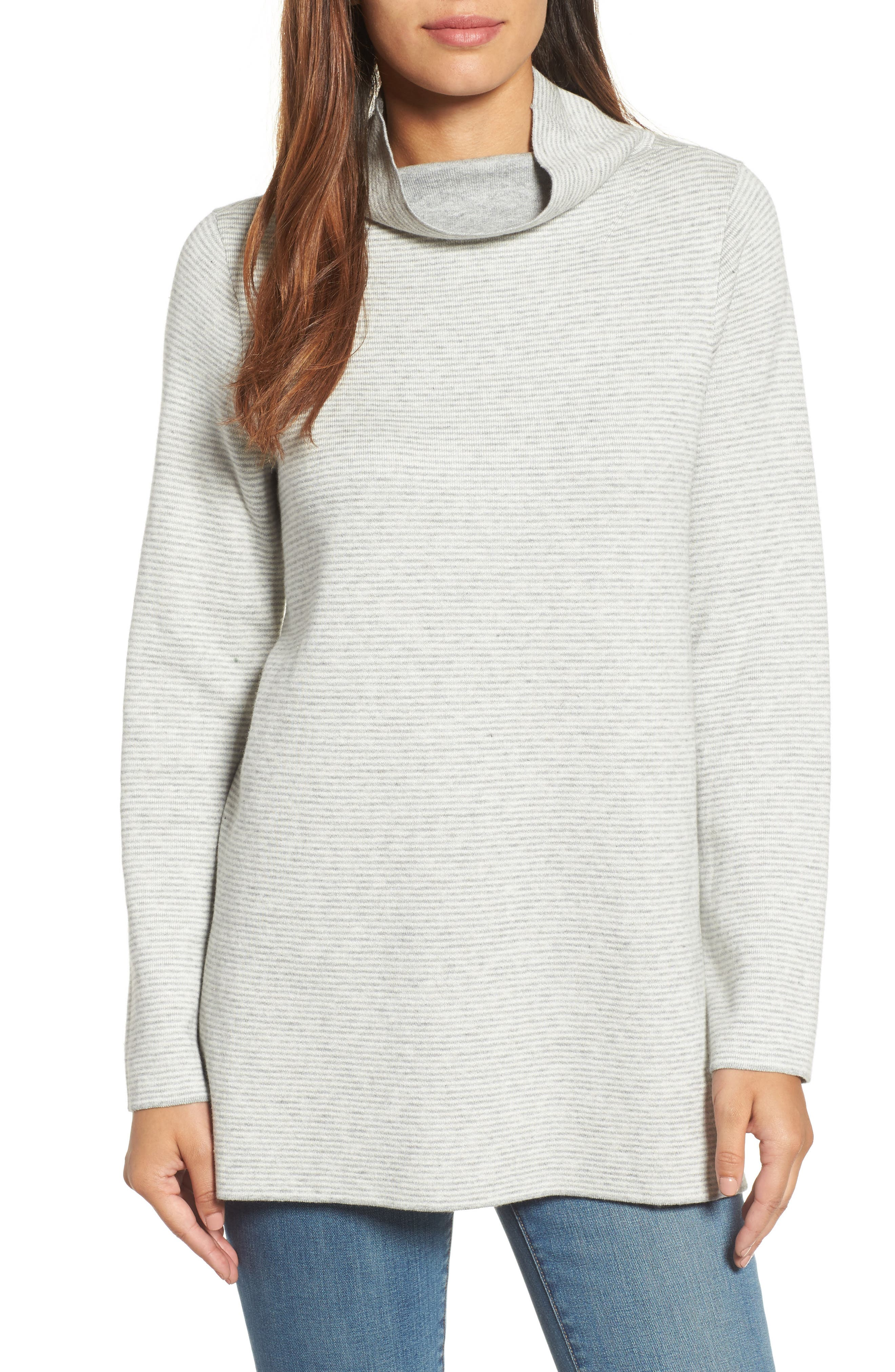 Eileen Fisher Reversible Funnel Neck Tunic Sweater