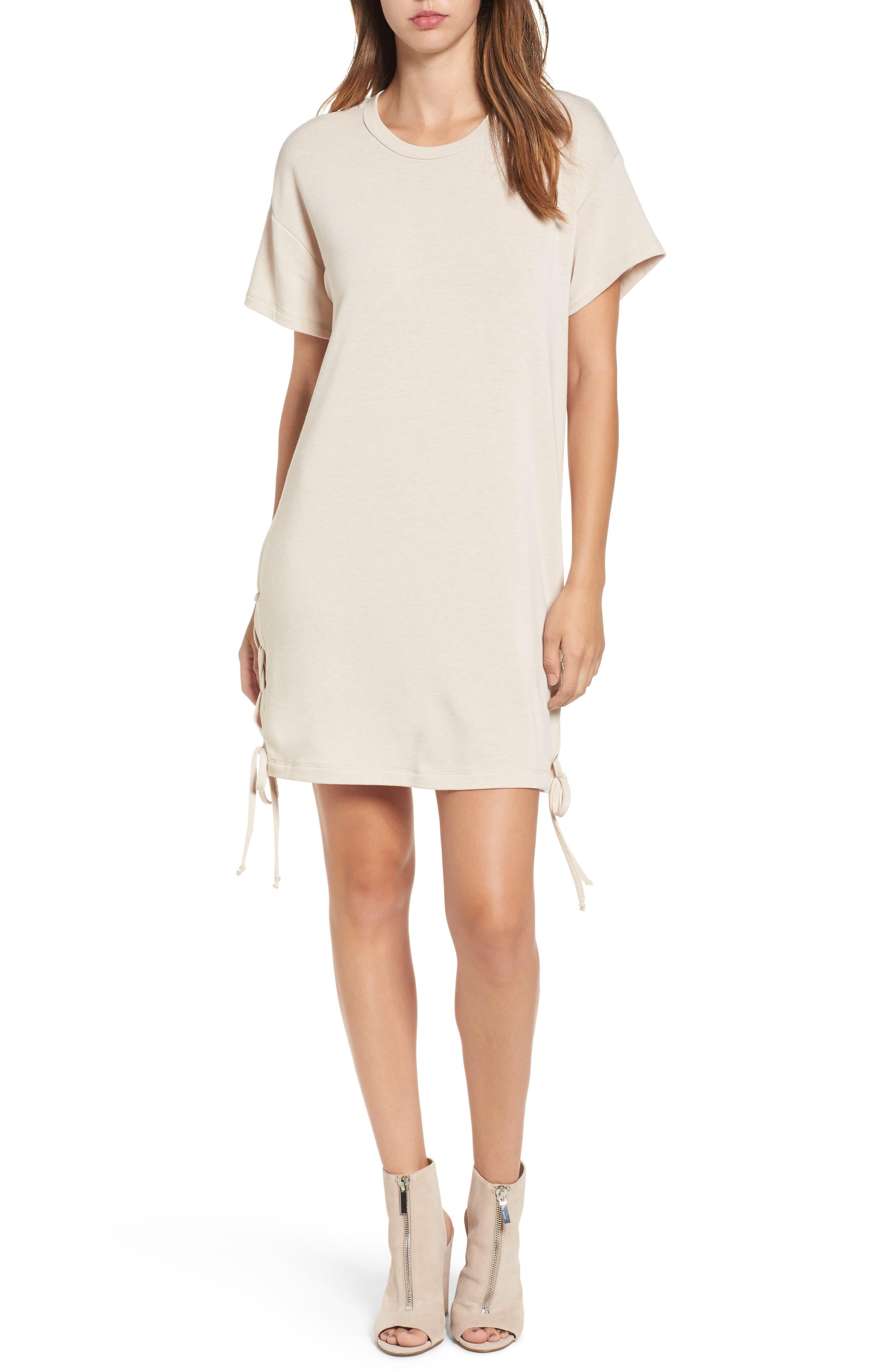 Lush Lace-Up Side T-Shirt Dress