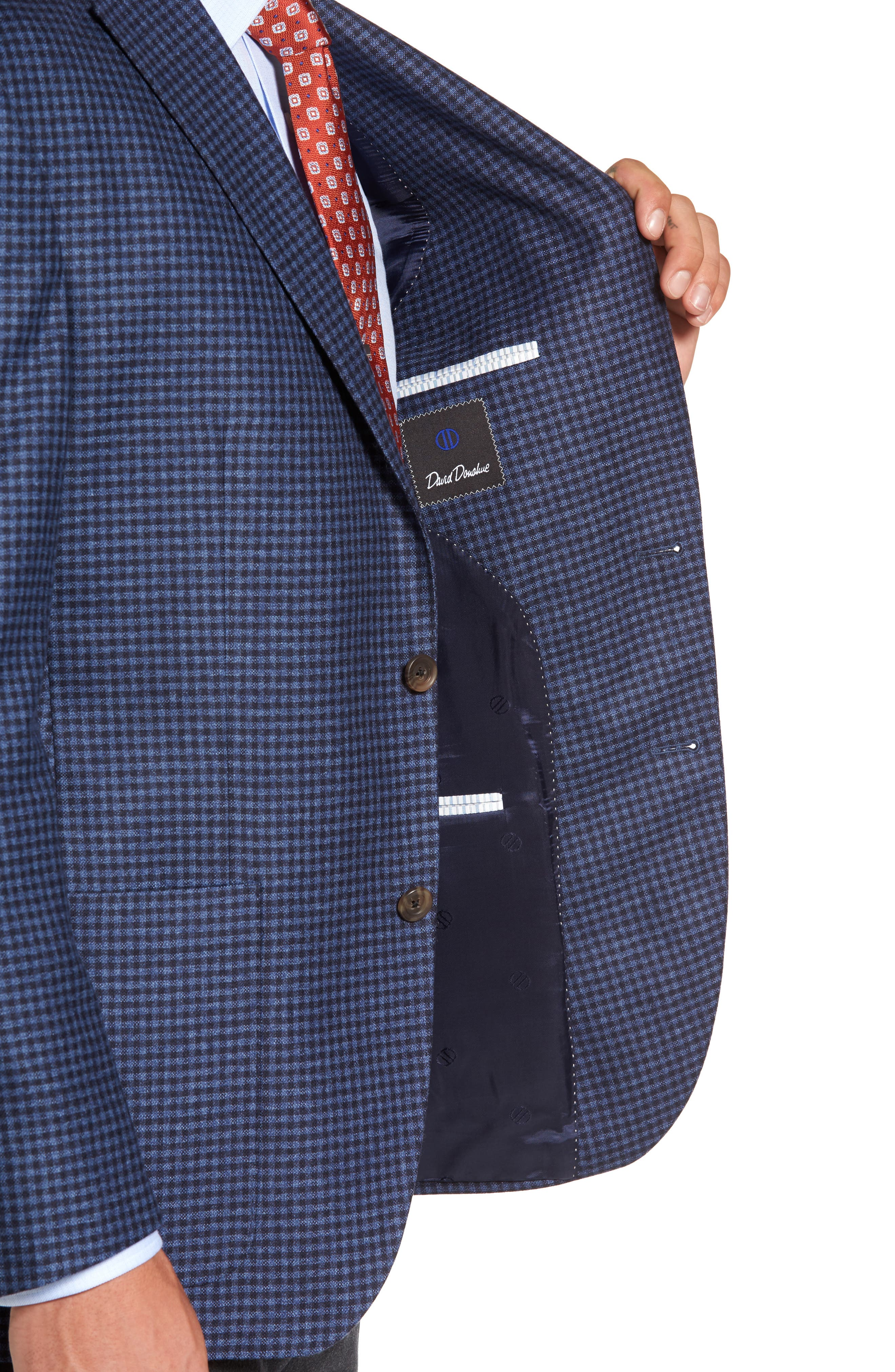 Alternate Image 4  - David Donahue Aiden Classic Fit Check Wool & Cashmere Sport Coat