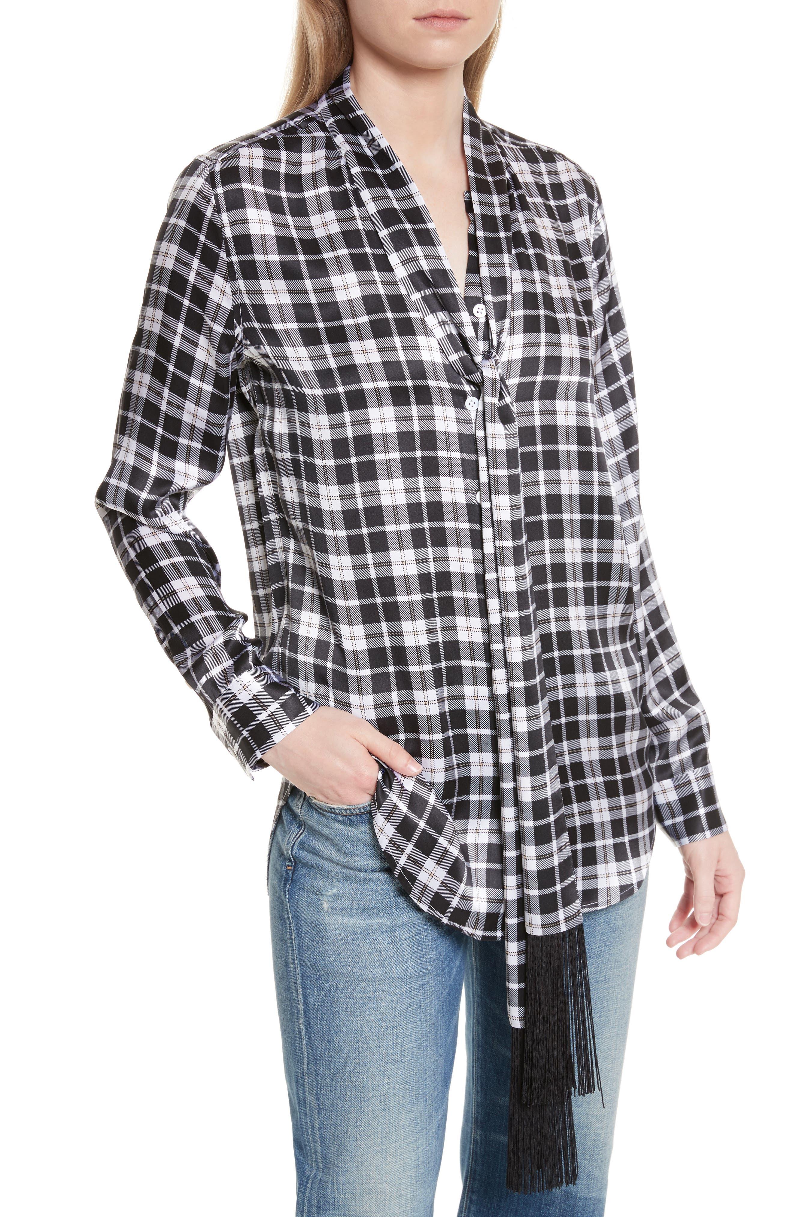 Essential Tie Neck Silk Shirt,                             Alternate thumbnail 4, color,                             Bright White-Palo Sa