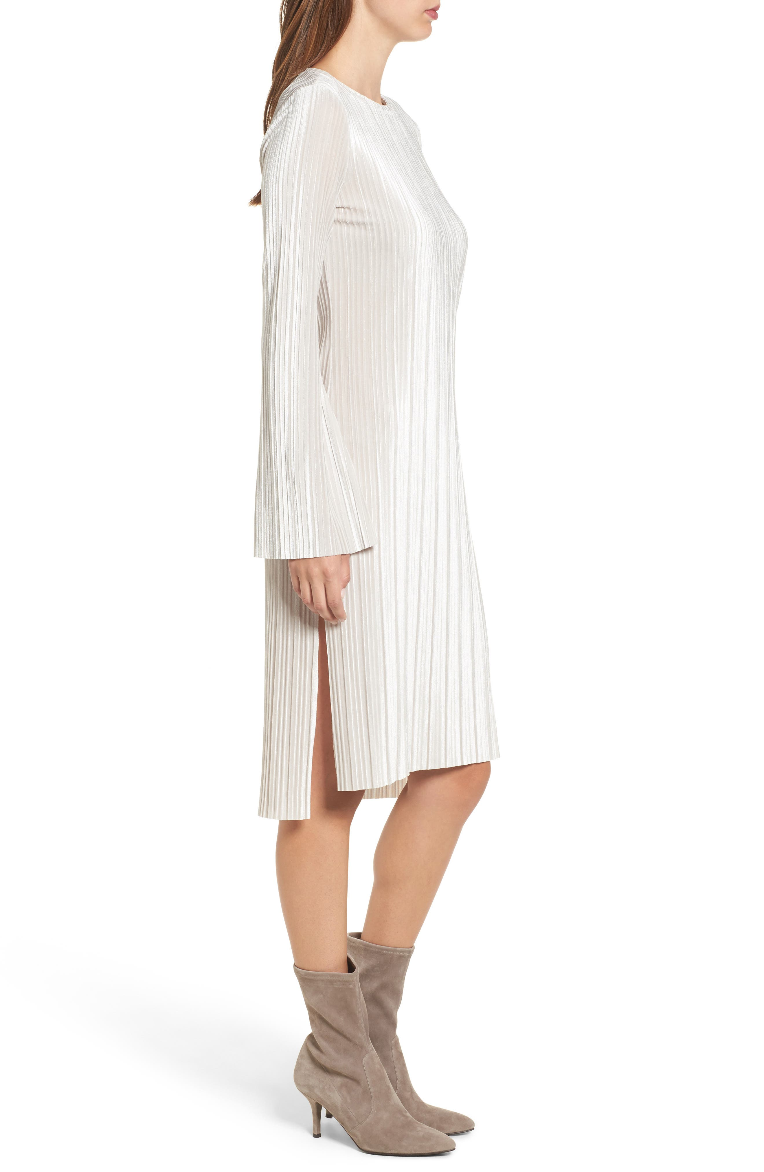 Pleated Midi Dress,                             Alternate thumbnail 3, color,                             Grey Chateau