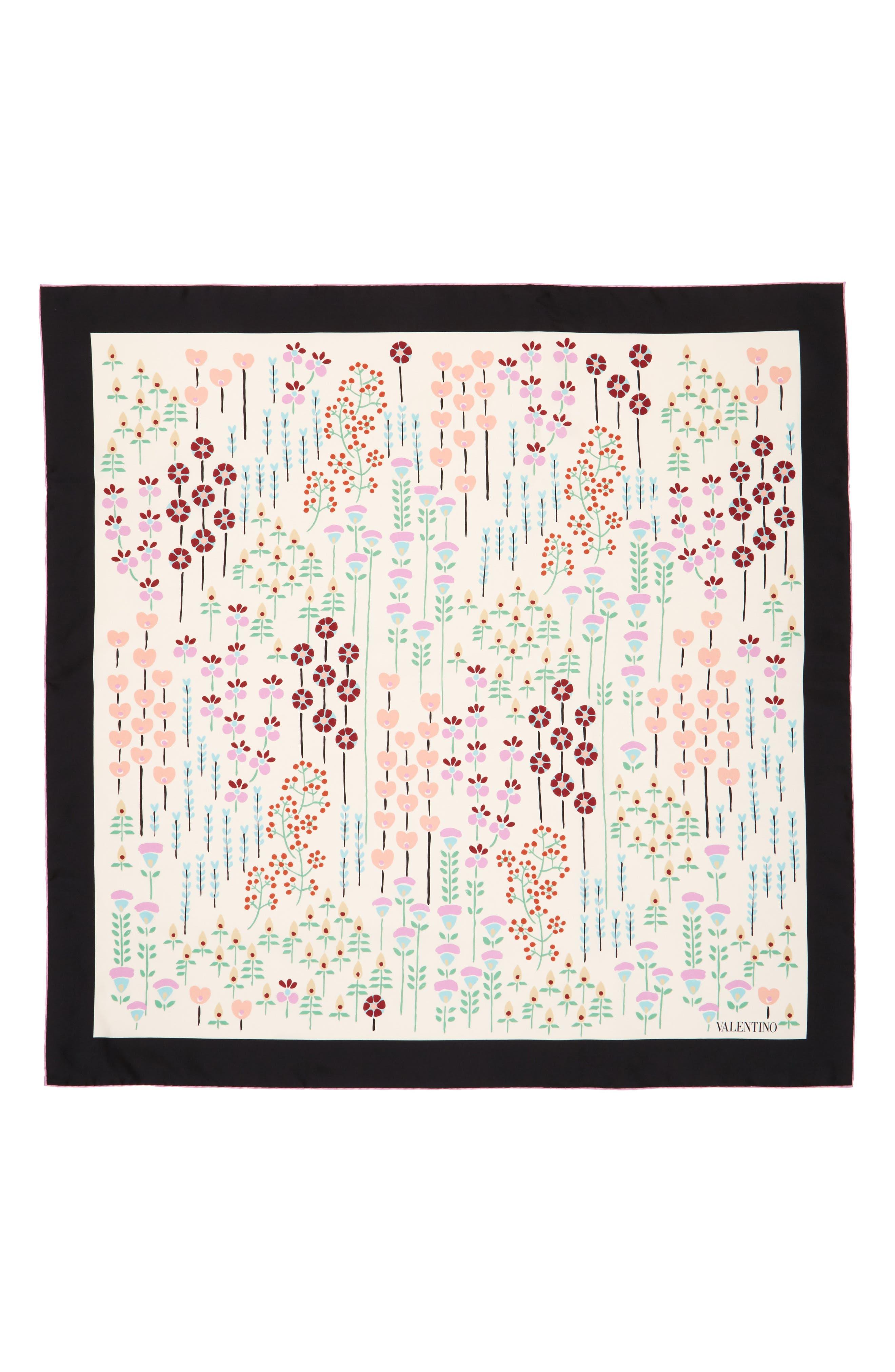 Valentino Flower Stems Silk Scarf