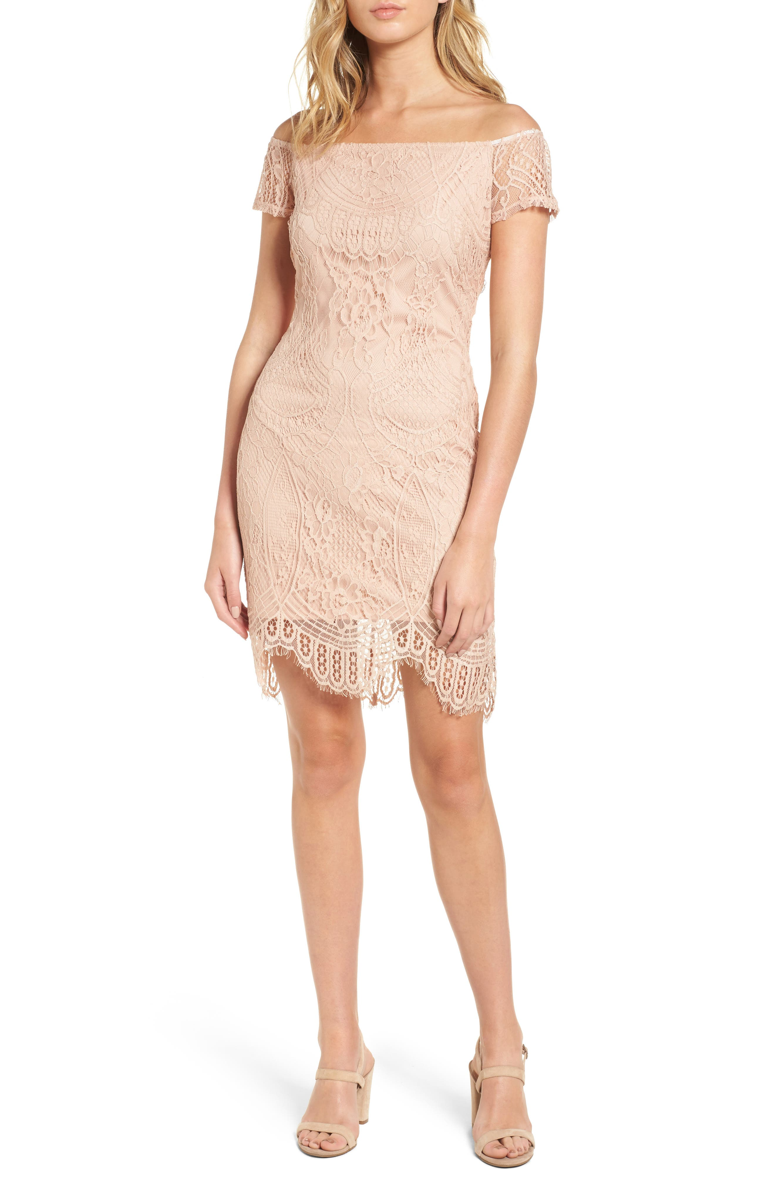 LOVE, FIRE Lace Off the Shoulder Dress