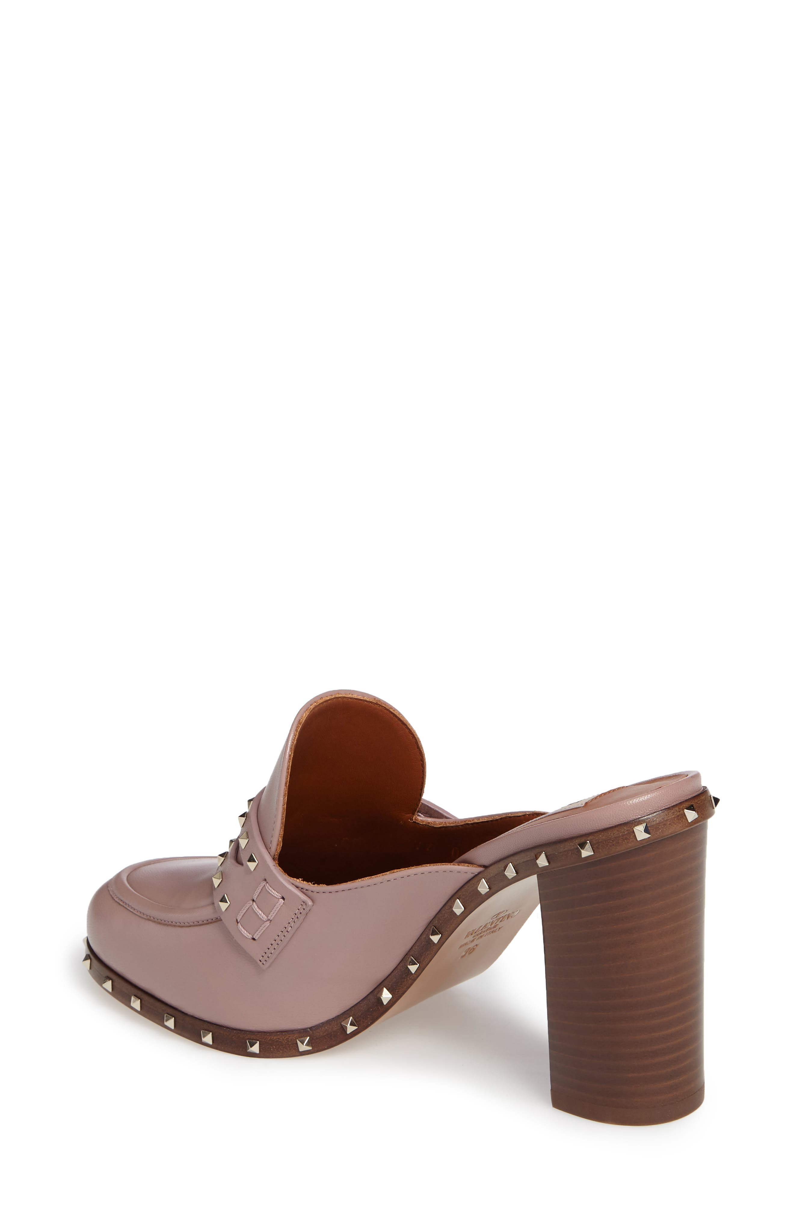 Rockstud Loafer Mule,                             Alternate thumbnail 2, color,                             Pink Leather