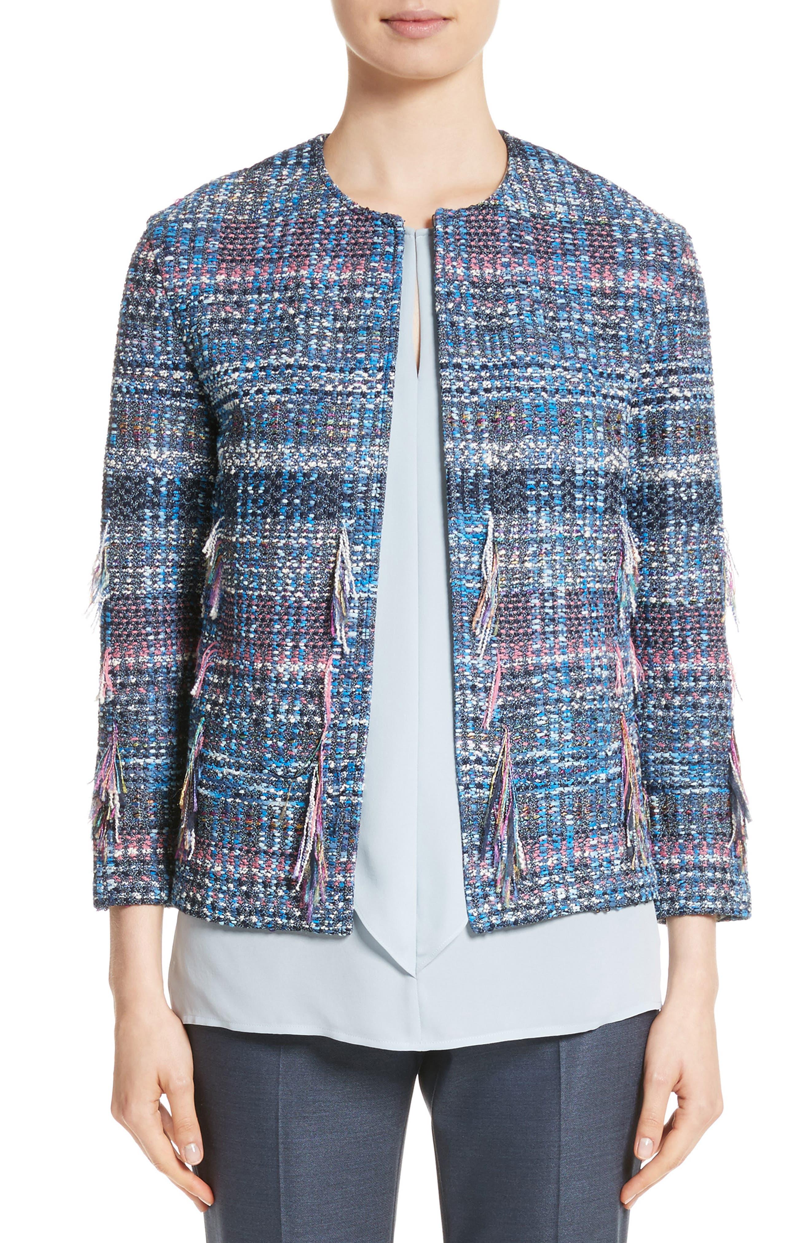 Fil Coupé Watercolor Placed Knit Jacket,                         Main,                         color, Niagara Multi
