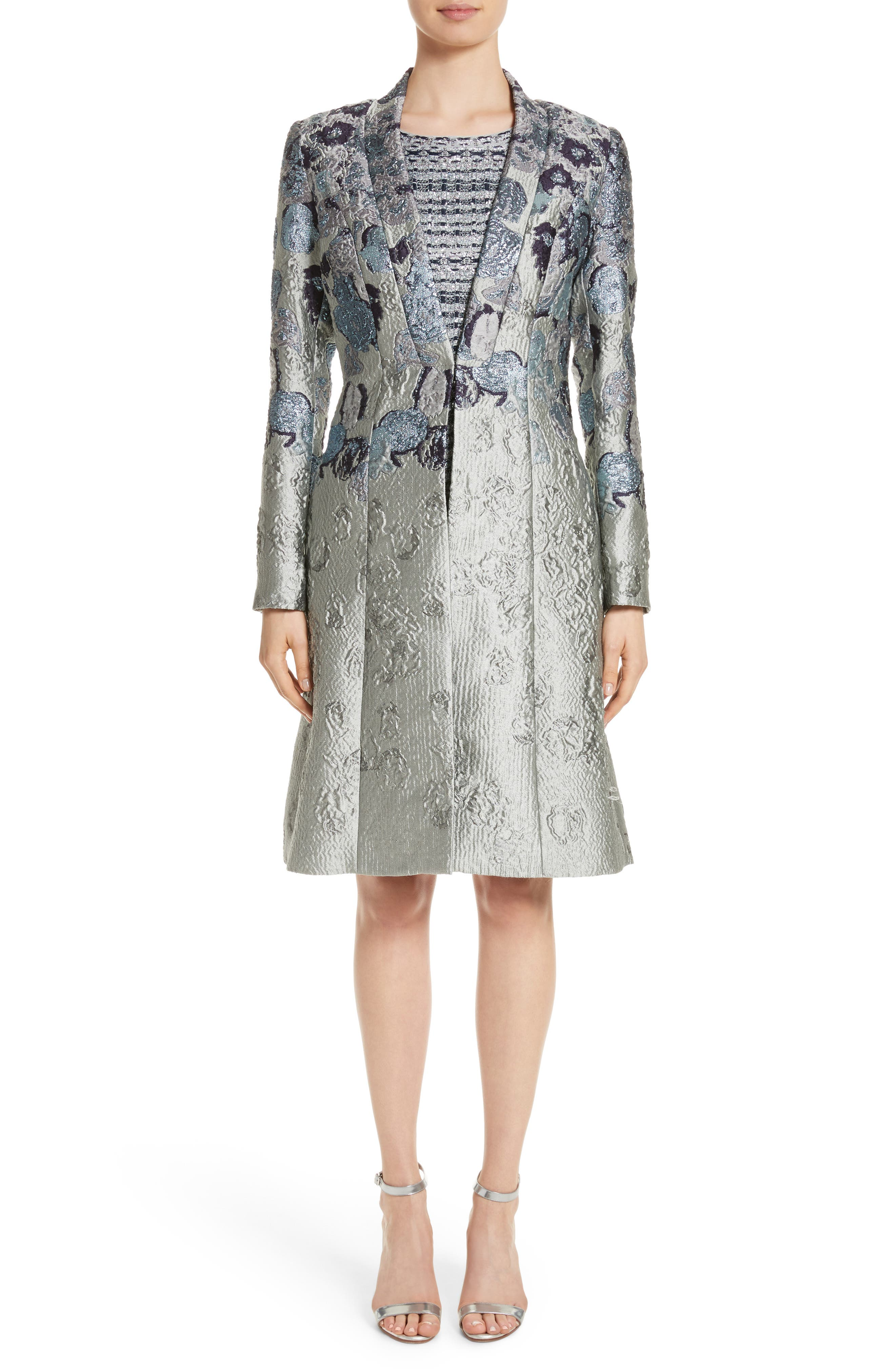 Metallic Jacquard Dress,                             Alternate thumbnail 2, color,                             Gunmetal Multi
