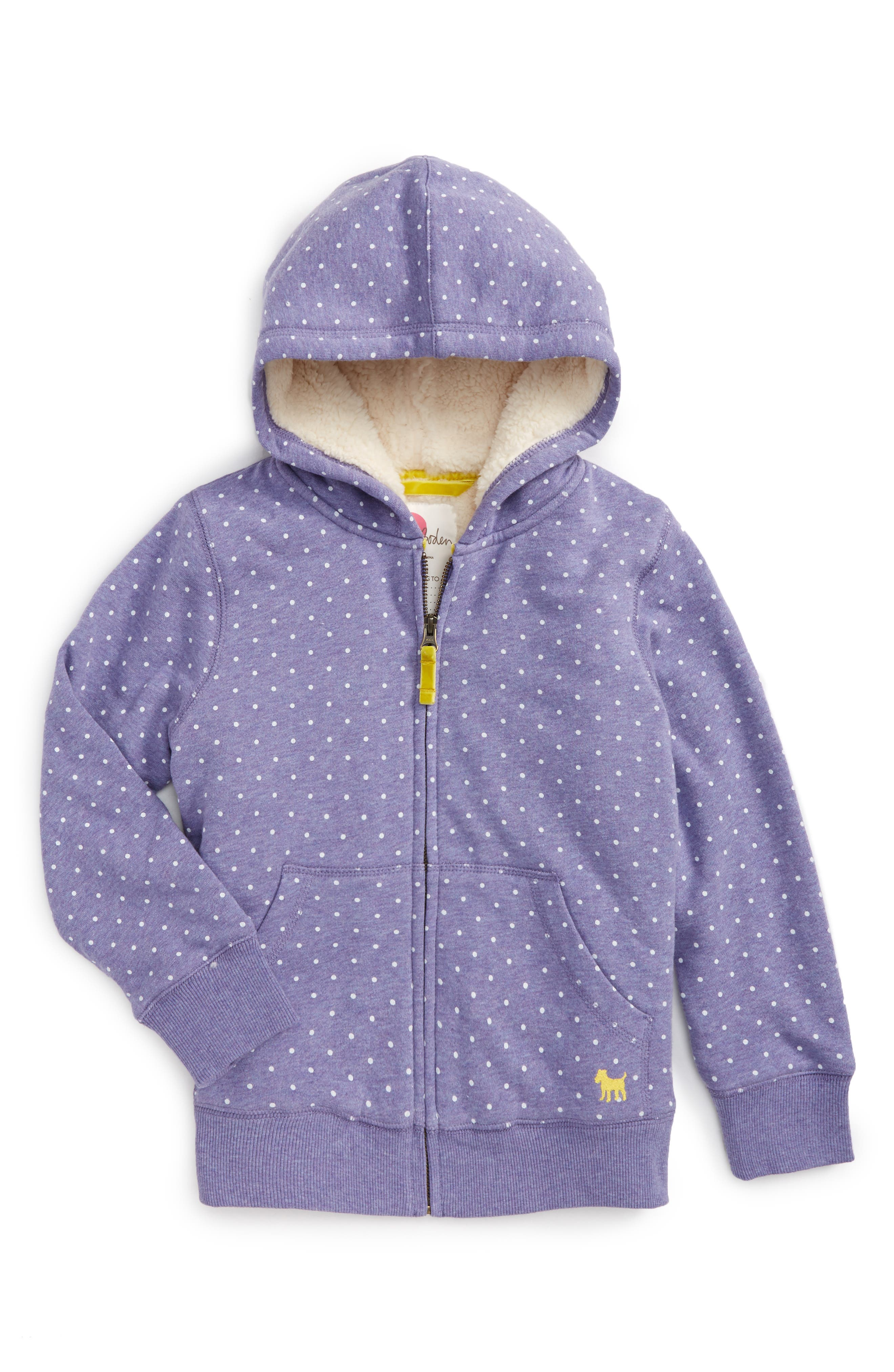 Boden Print Shaggy Lined Hoodie (Toddler Girls, Little Girls & Big Girls)