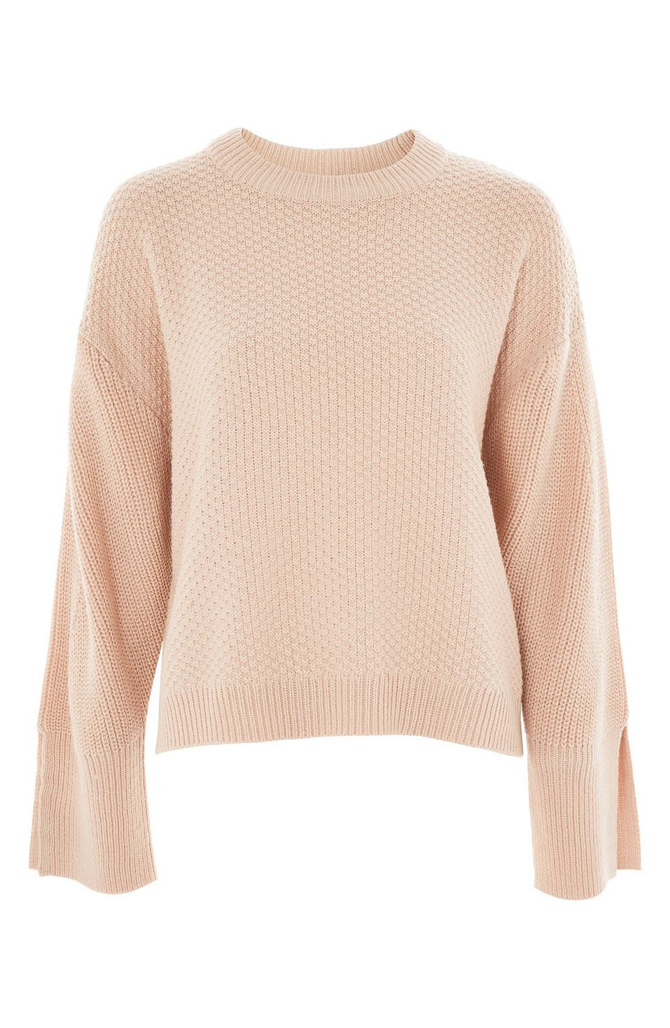 Wide Sleeve Sweater,                             Alternate thumbnail 5, color,                             Nude