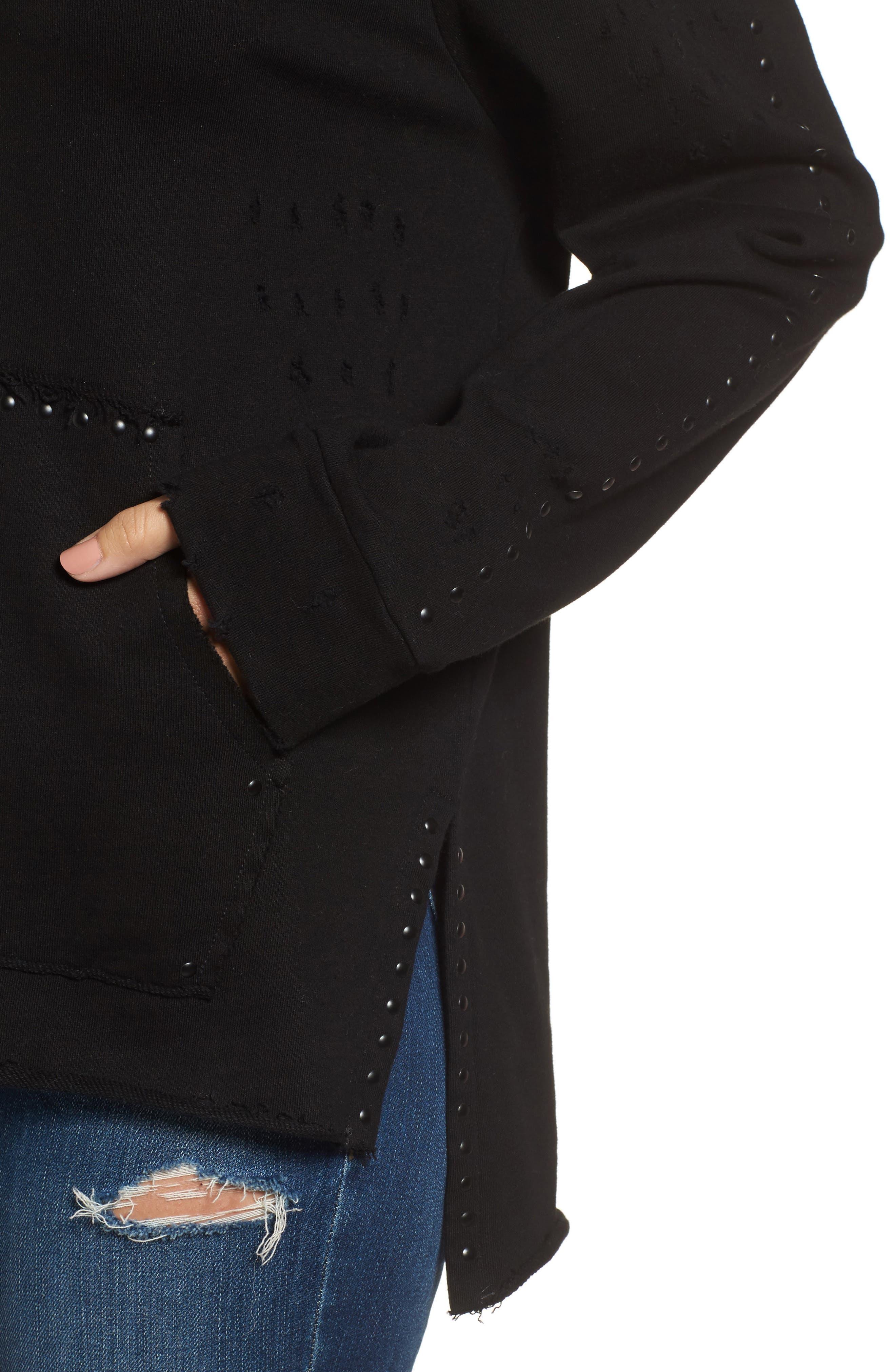 Alternate Image 4  - BLANKNYC Dark & Stormy Studded Hoodie