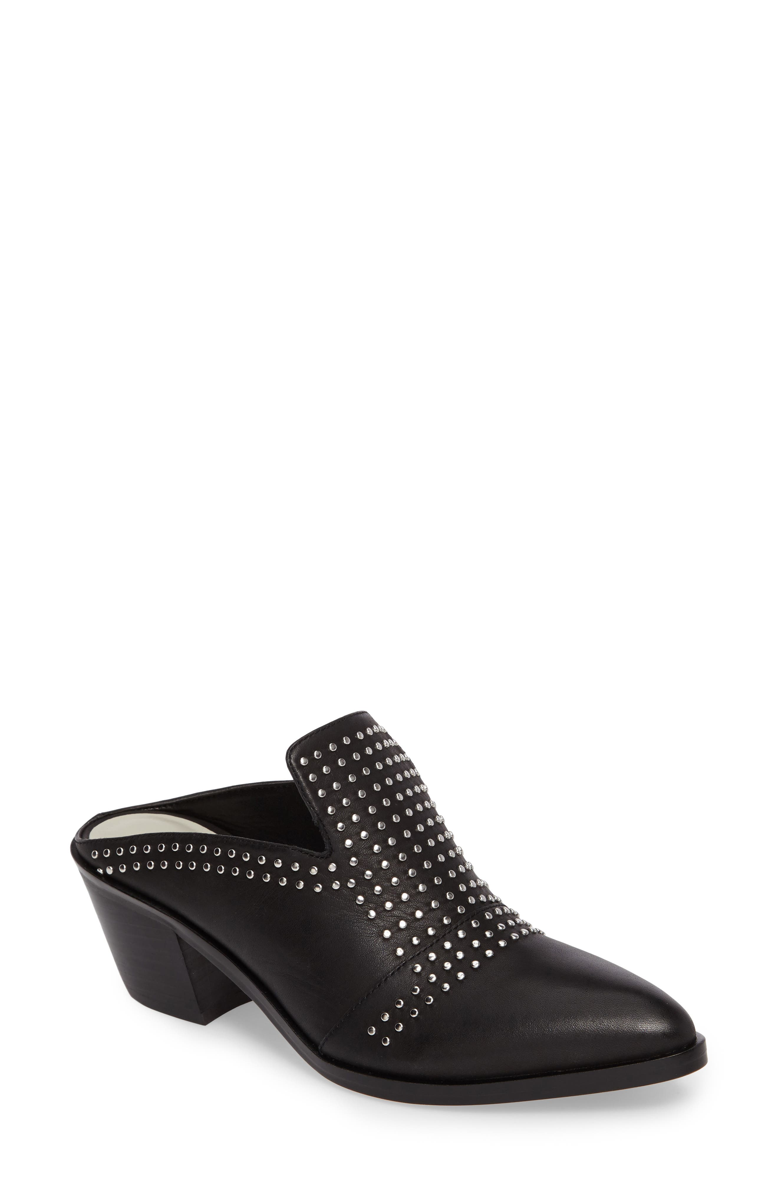 Lon Studded Loafer Mule,                             Main thumbnail 1, color,                             Black Leather