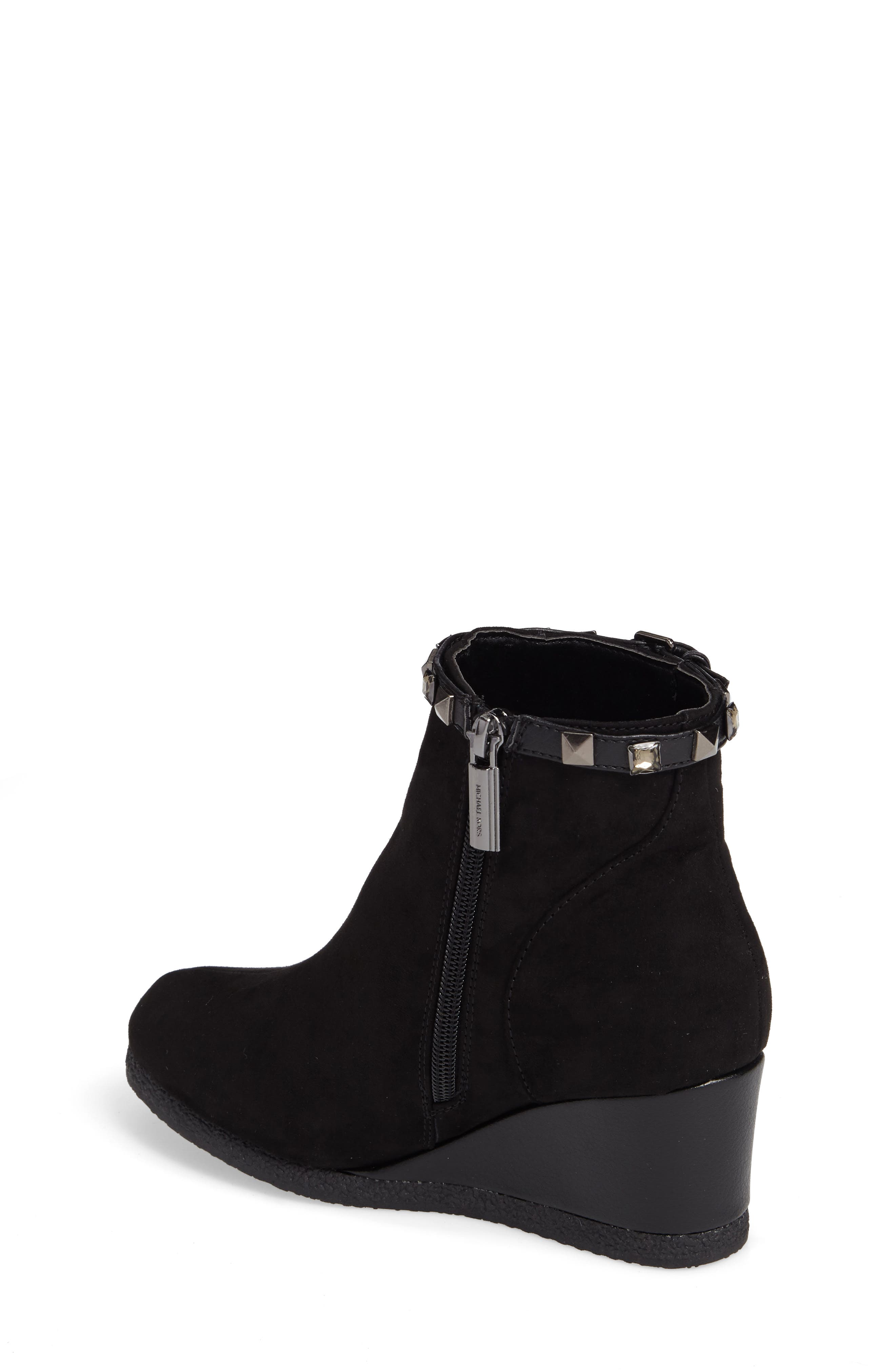 Cara Key Studded Wedge Bootie,                             Alternate thumbnail 2, color,                             Black