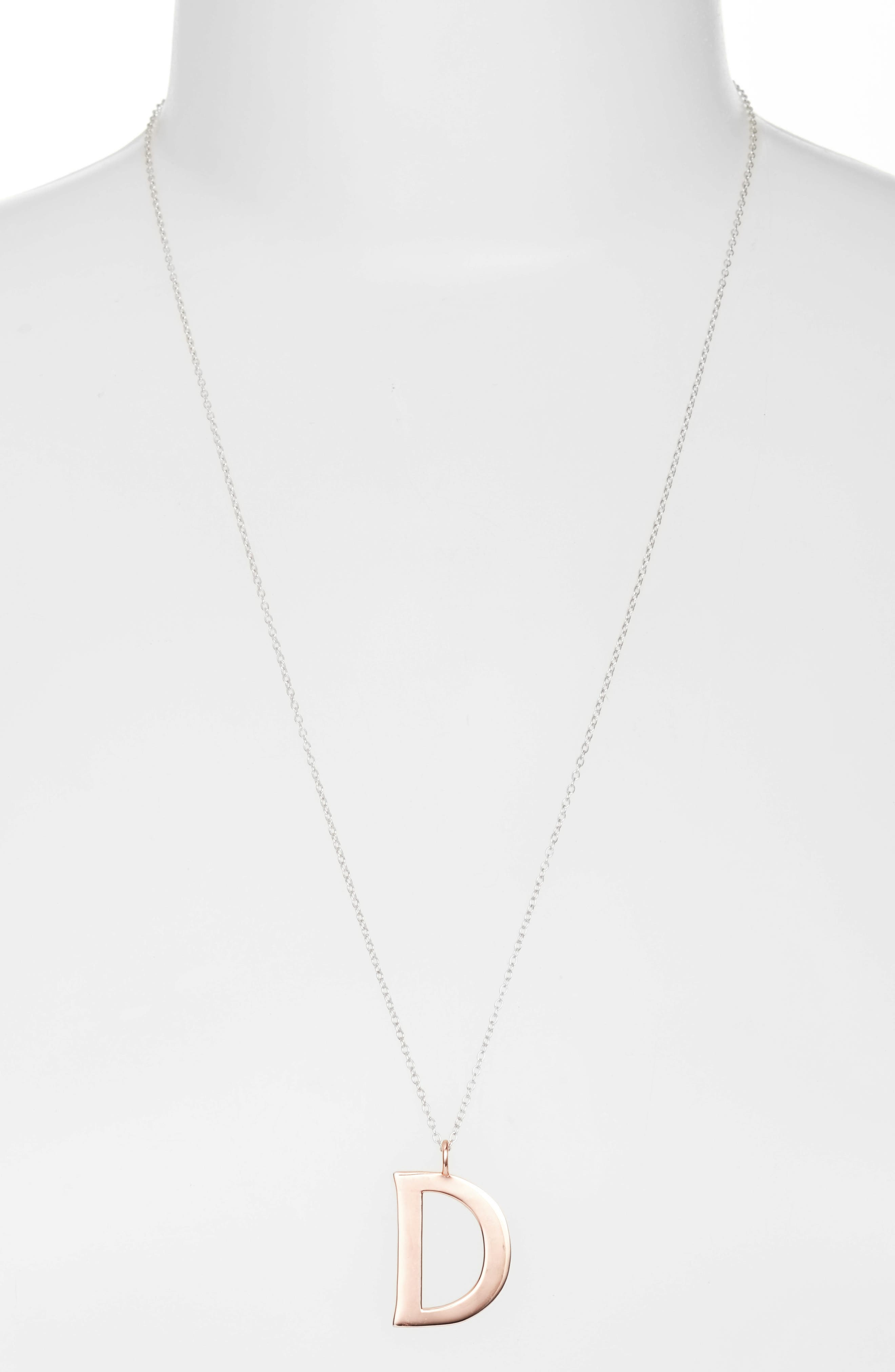 Initial Pendant Necklace,                             Main thumbnail 1, color,                             Rose Gold / Silver - D