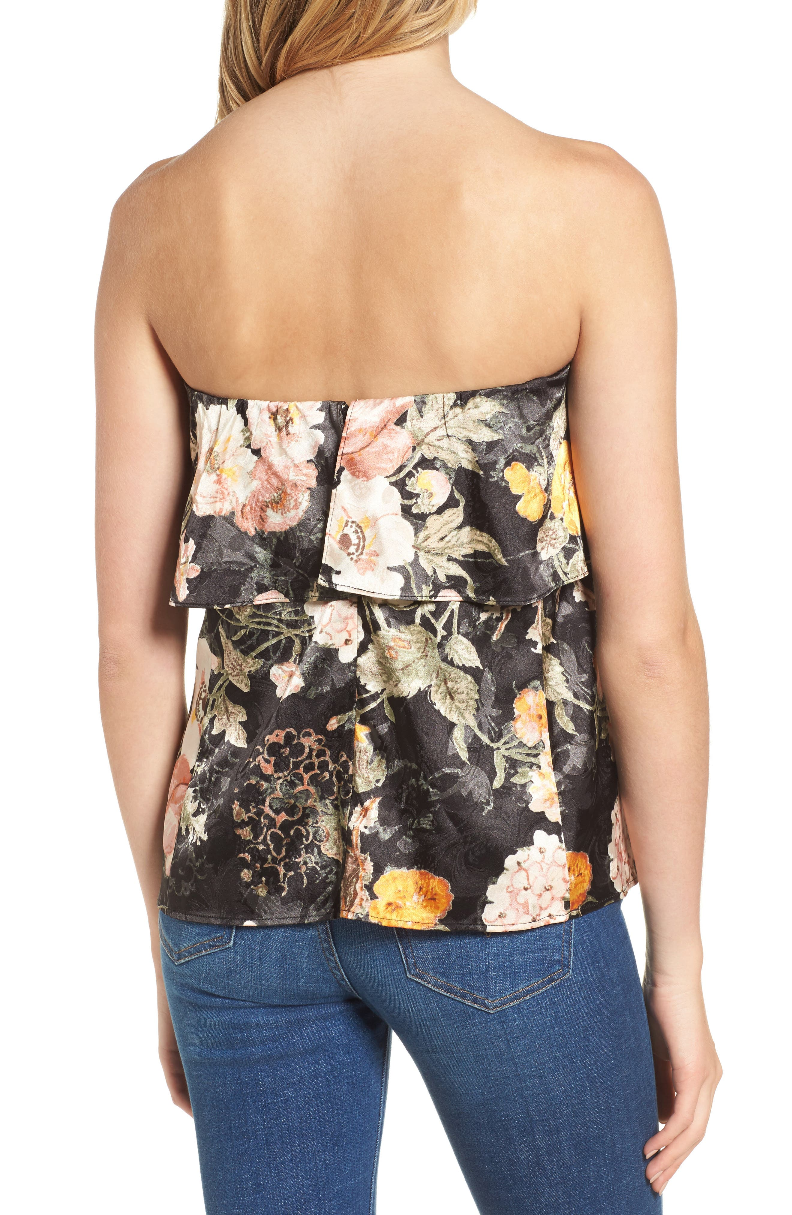 Alternate Image 2  - WAYF Floral Strapless Top
