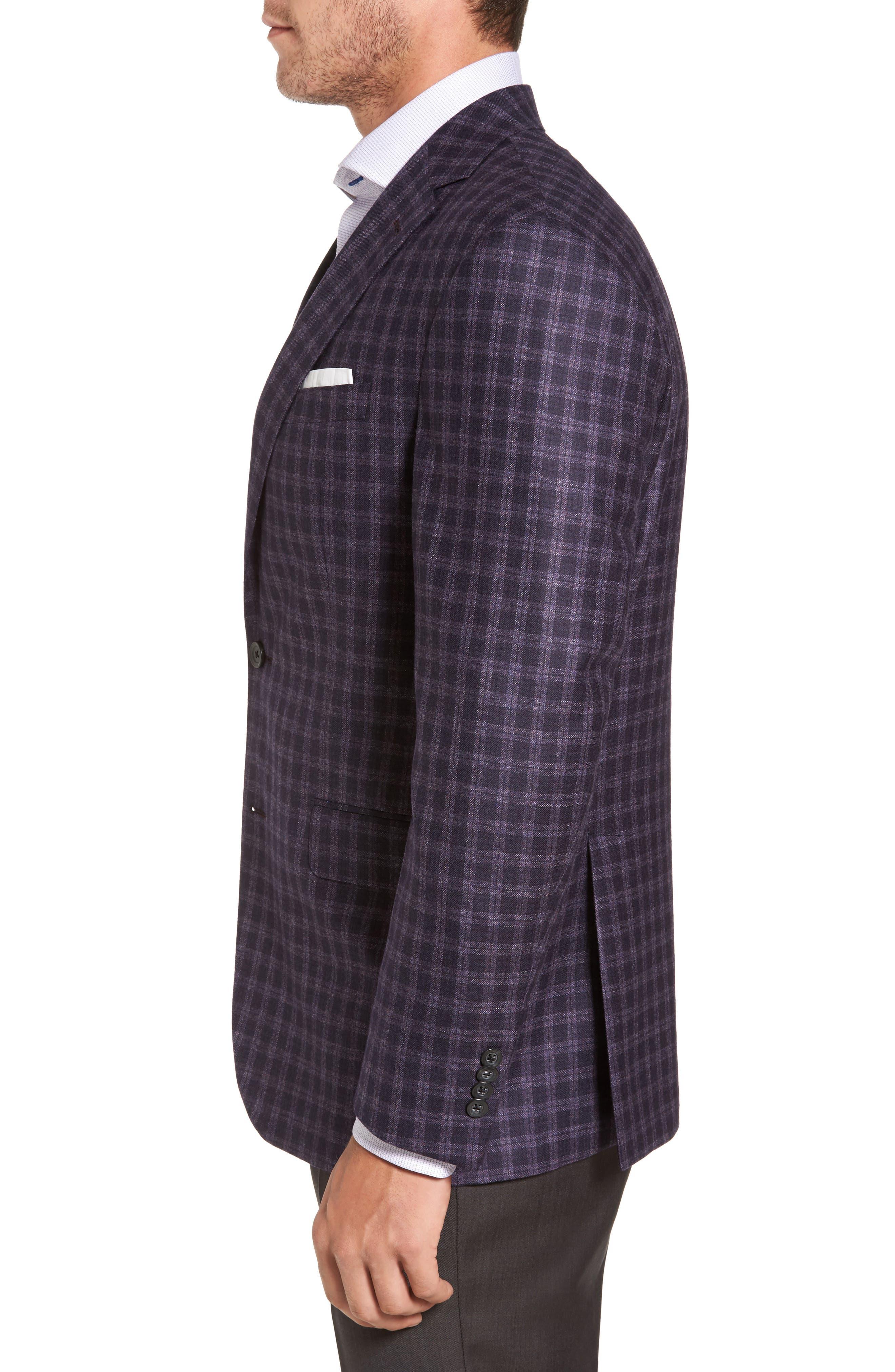 Ashton Classic Fit Check Wool Sport Coat,                             Alternate thumbnail 3, color,                             Burgundy