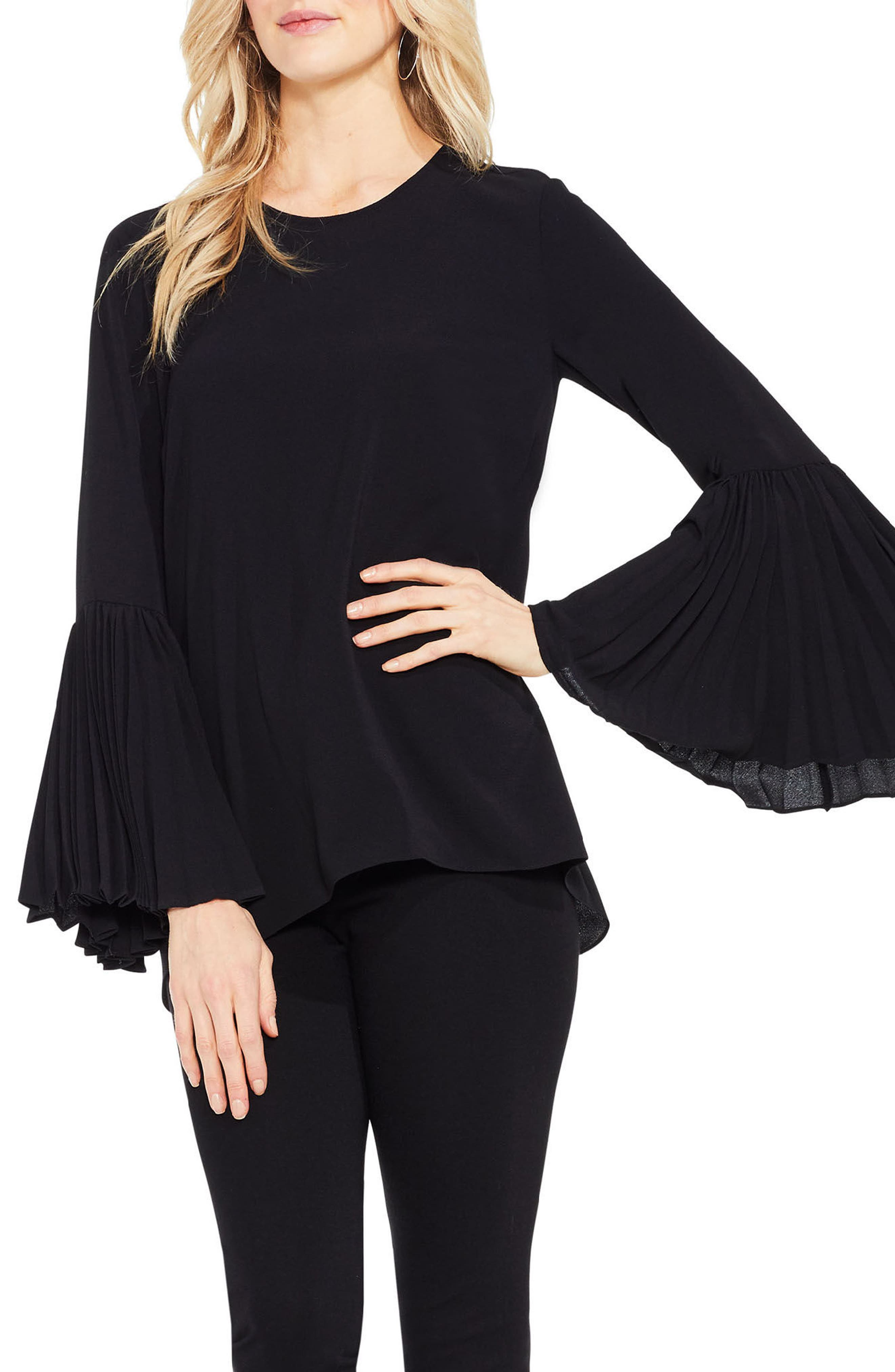 Pleat Bell Sleeve Blouse,                         Main,                         color, Rich Black