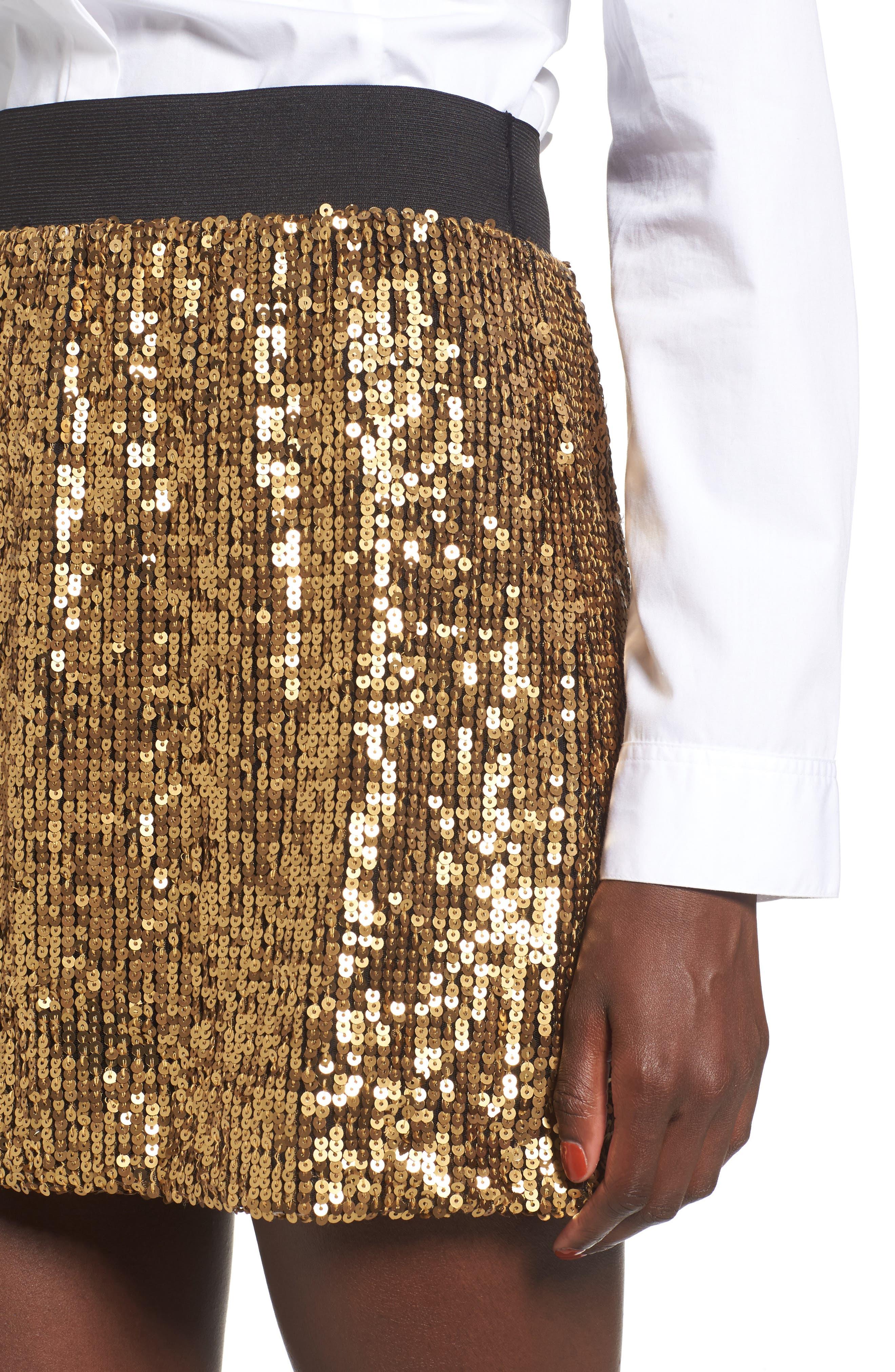 Sequin Miniskirt,                             Alternate thumbnail 4, color,                             Metallic Gold