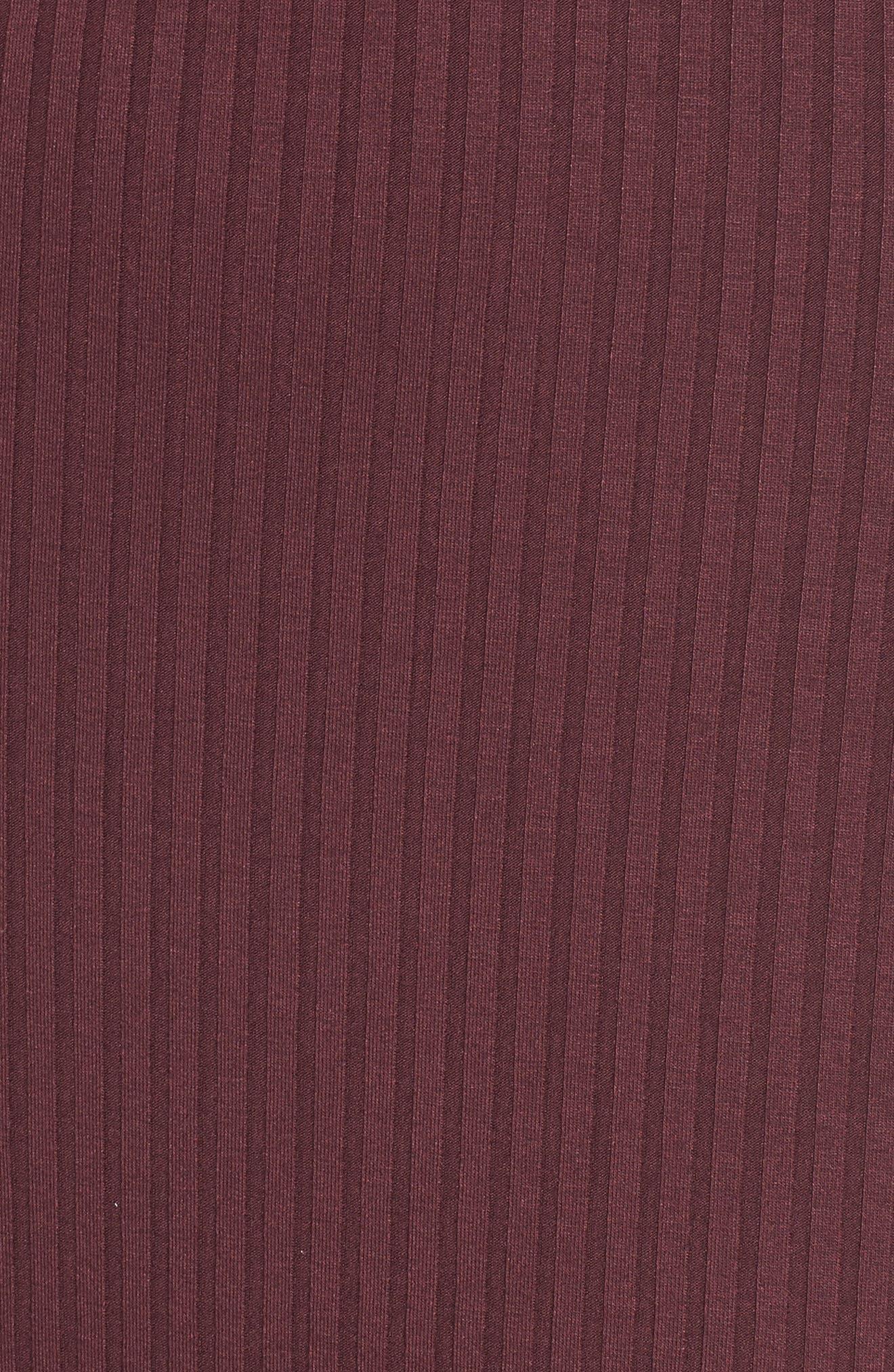 Ribbed Choker Dress,                             Alternate thumbnail 5, color,                             Red Tannin