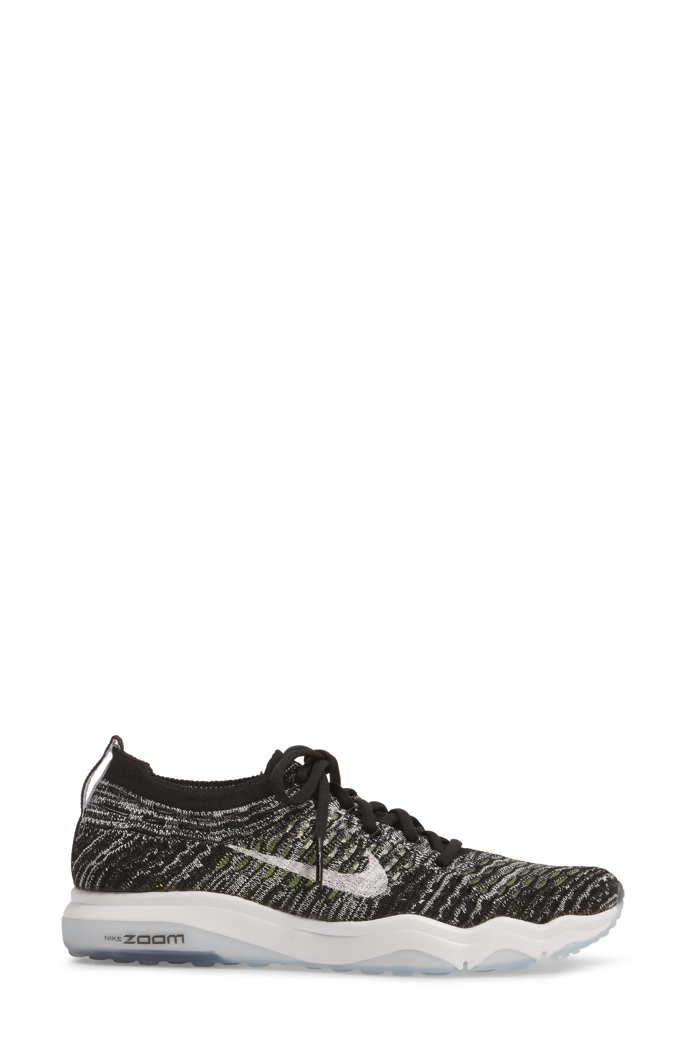 Air Zoom Fearless Flyknit Training Shoe,                             Alternate thumbnail 3, color,                             Black/ White/ White