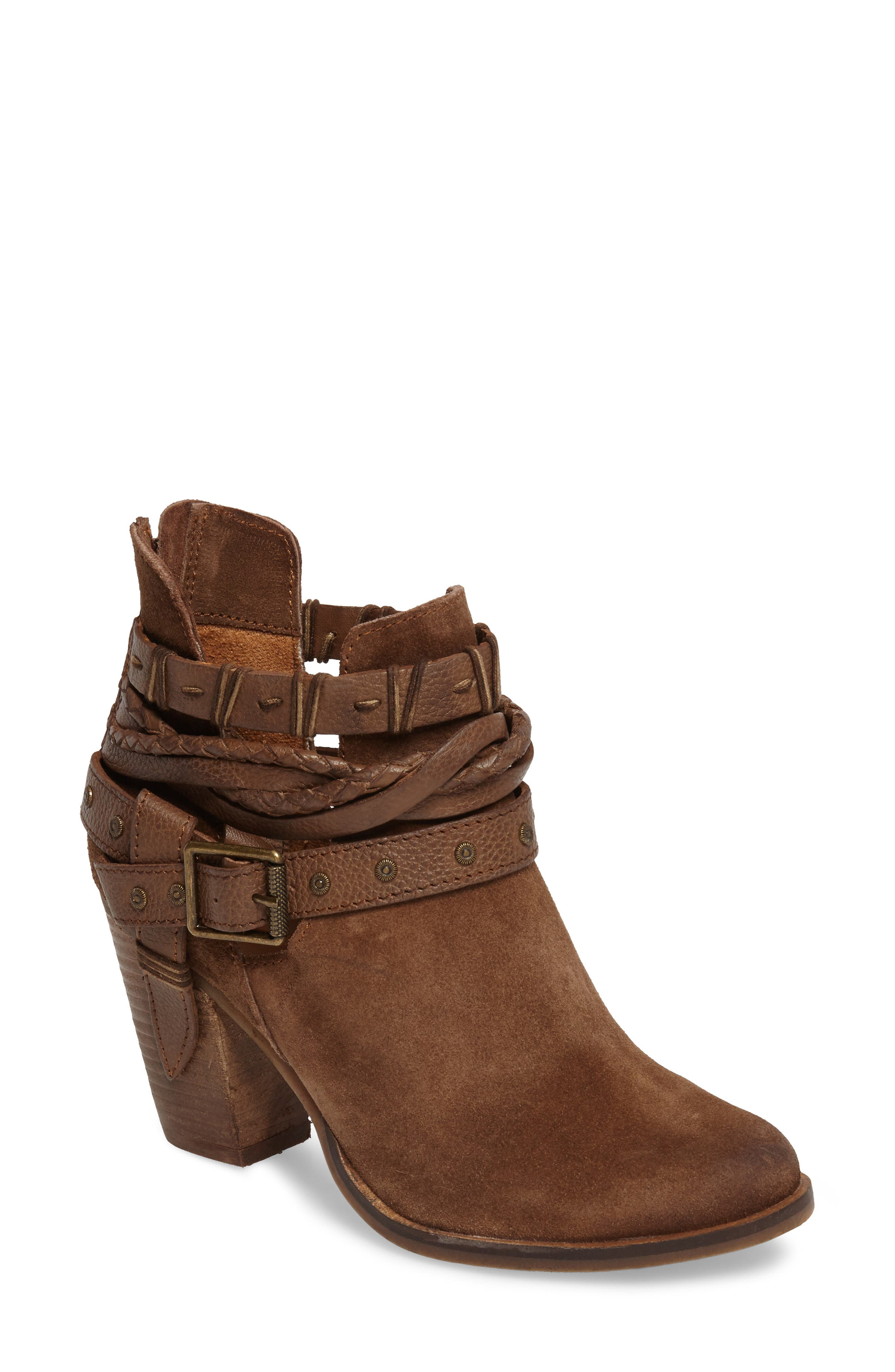 Cuthbert Strappy Bootie,                             Main thumbnail 1, color,                             Tan Suede