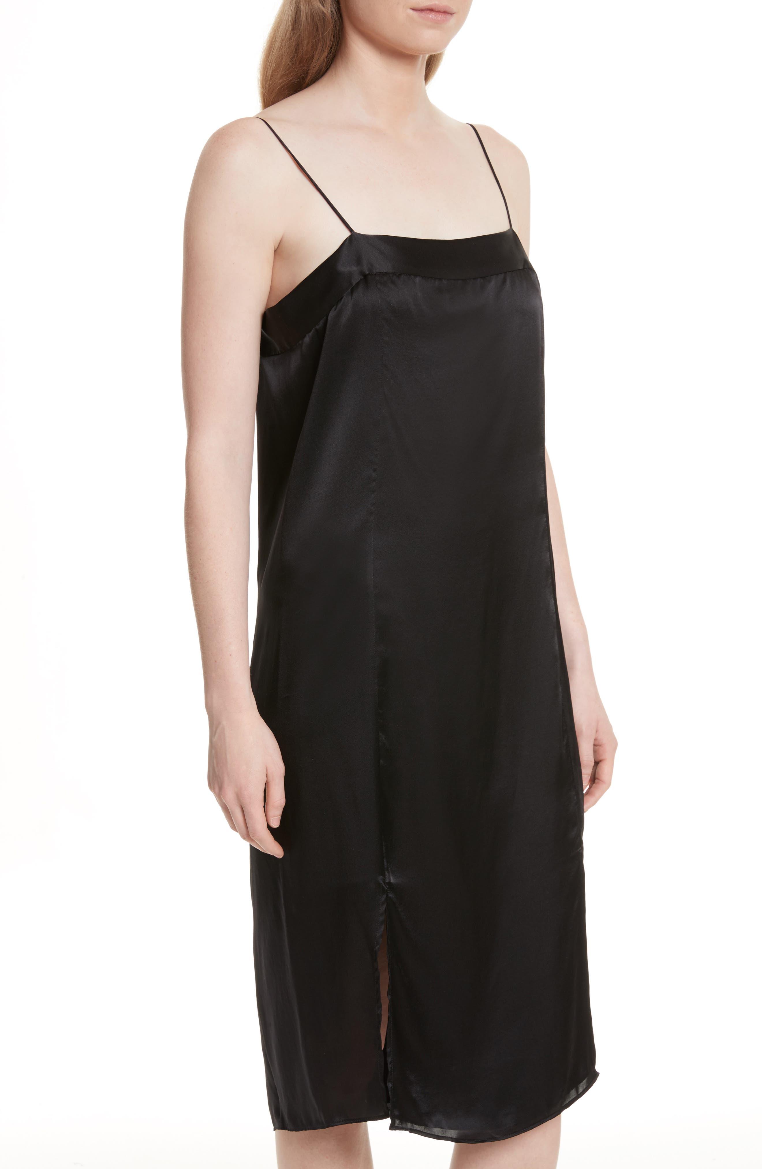 Kelby Silk Slipdress,                             Alternate thumbnail 4, color,                             True Black