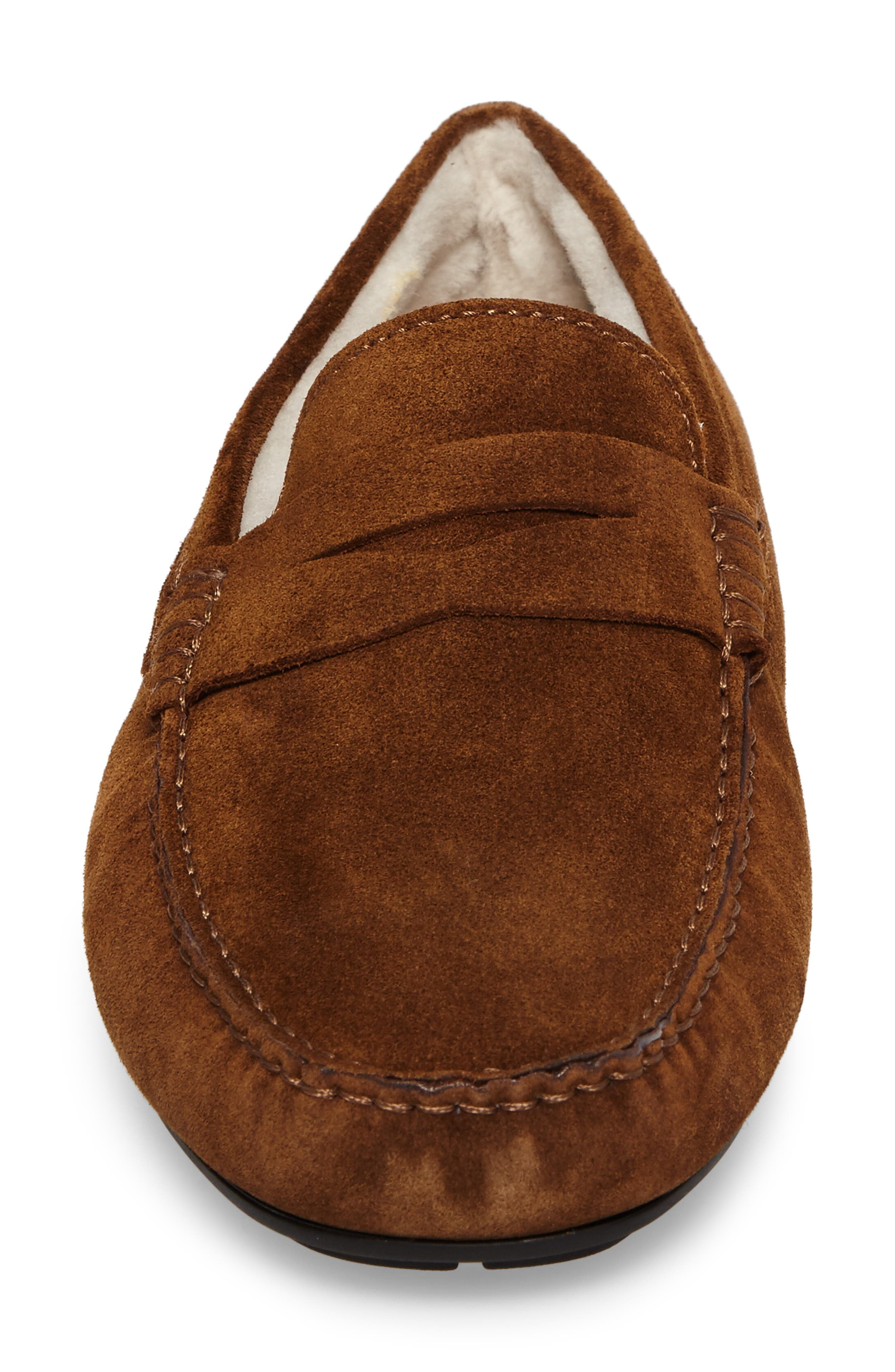 Norse Penny Loafer with Genuine Shearling,                             Alternate thumbnail 4, color,                             Brown/ Brown Suede Leather