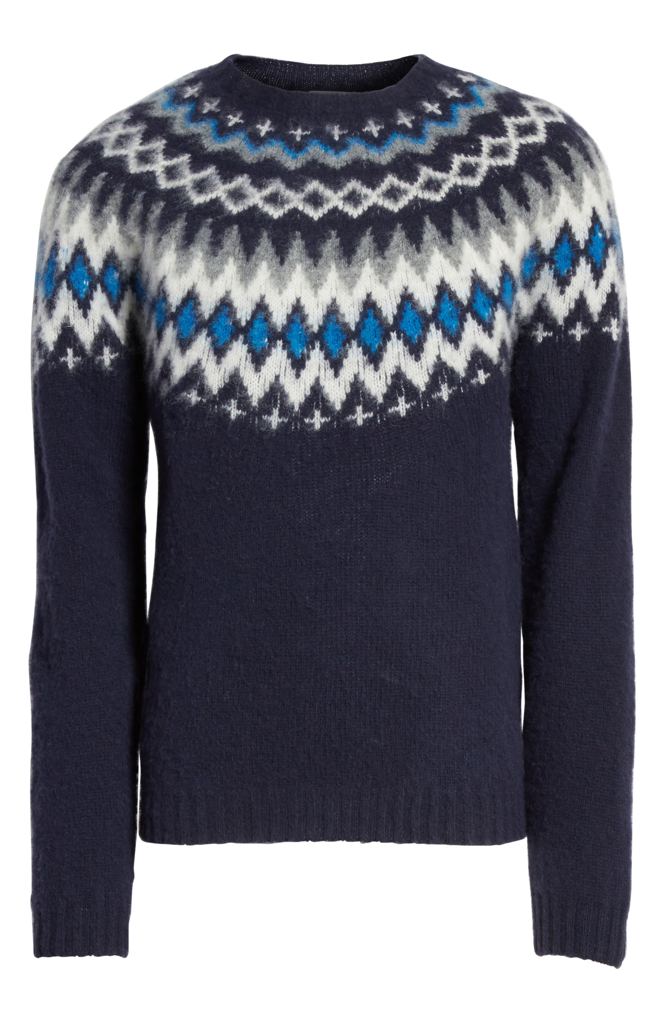 Nirnir Fair Isle Lambswool Sweater,                             Alternate thumbnail 6, color,                             Navy