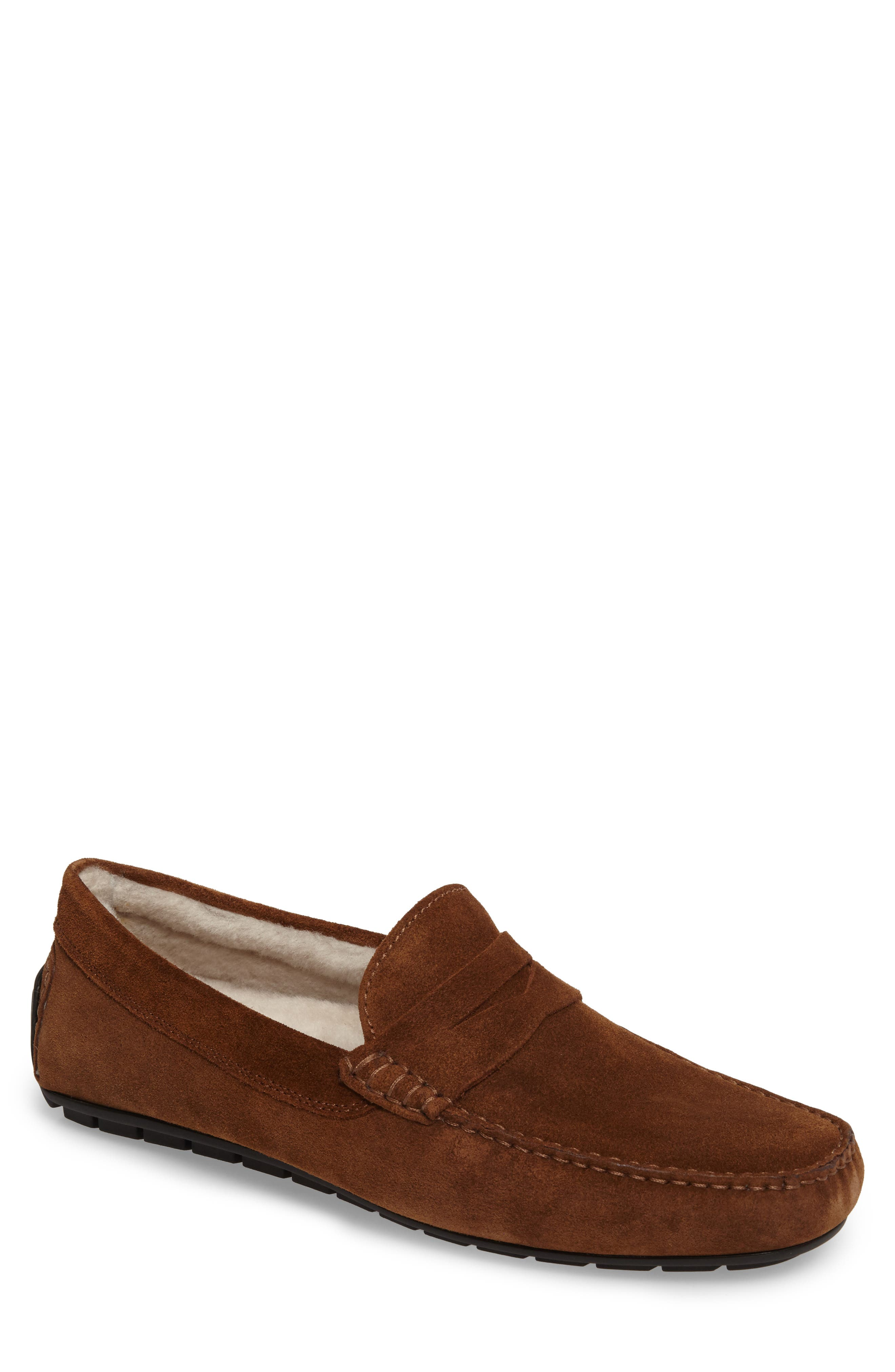 Norse Penny Loafer with Genuine Shearling,                             Main thumbnail 1, color,                             Brown/ Brown Suede Leather