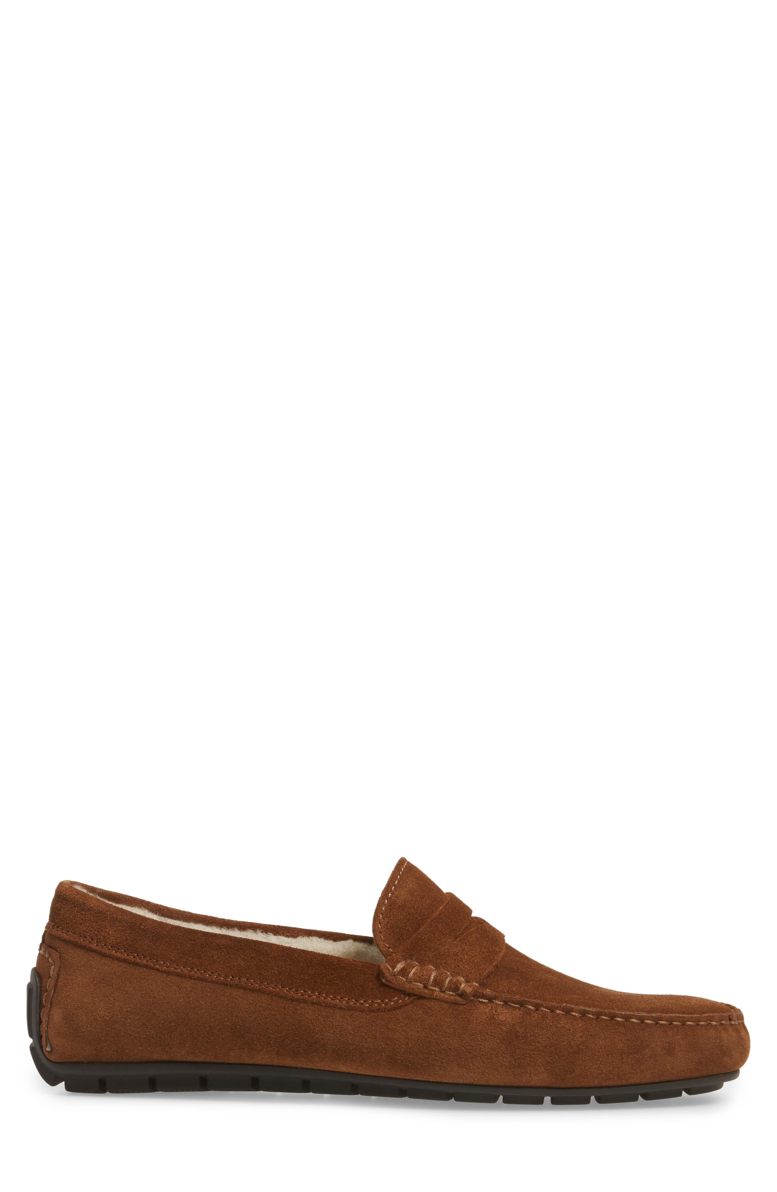 Norse Penny Loafer with Genuine Shearling,                             Alternate thumbnail 3, color,                             Brown/ Brown Suede Leather