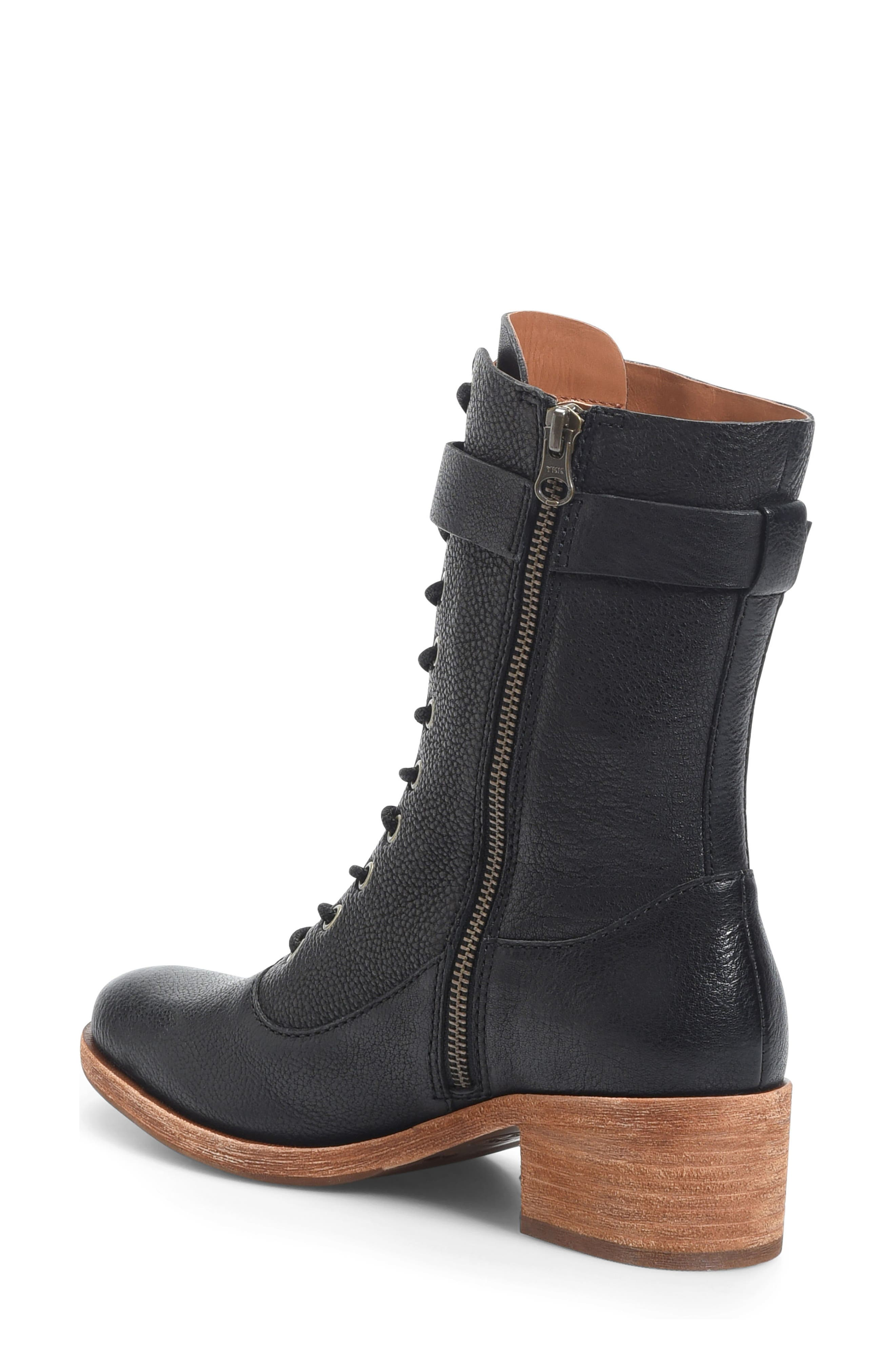 Mona Lace-Up Boot,                             Alternate thumbnail 2, color,                             Black Leather