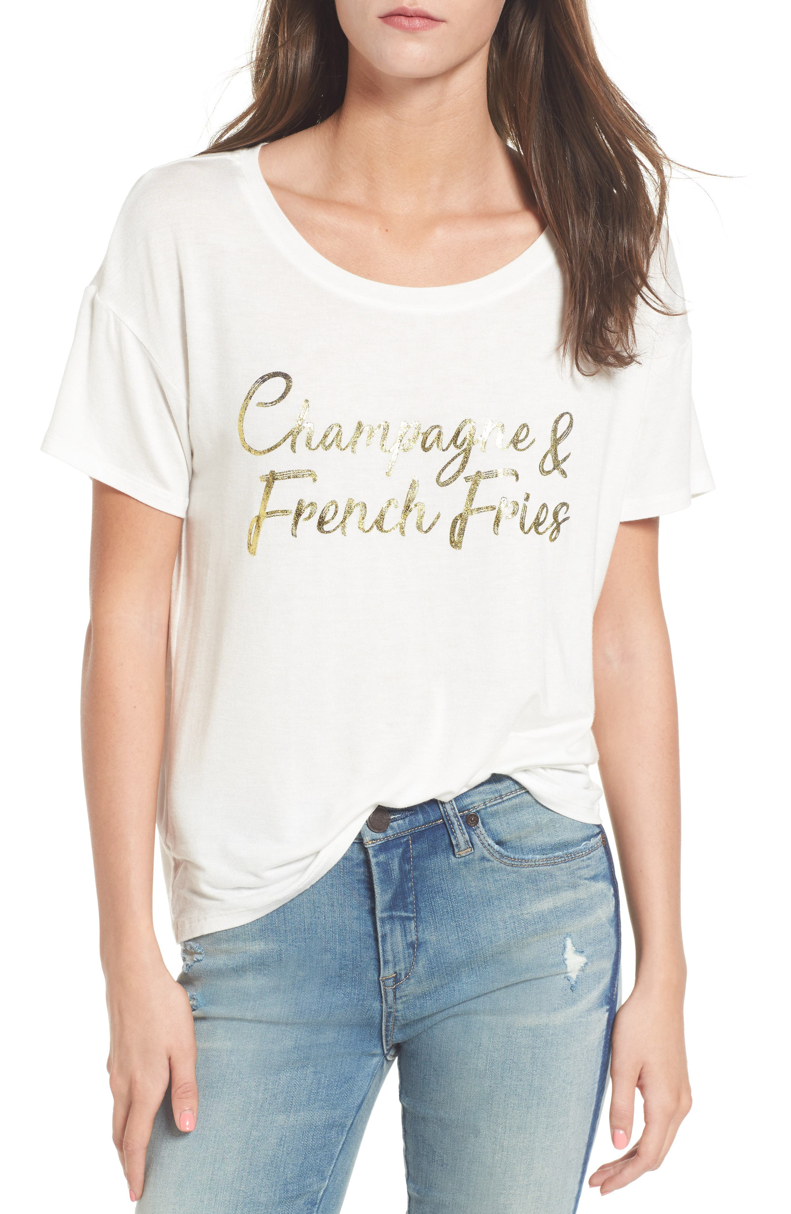 Champagne & French Fries Tee,                             Main thumbnail 1, color,                             Ivory
