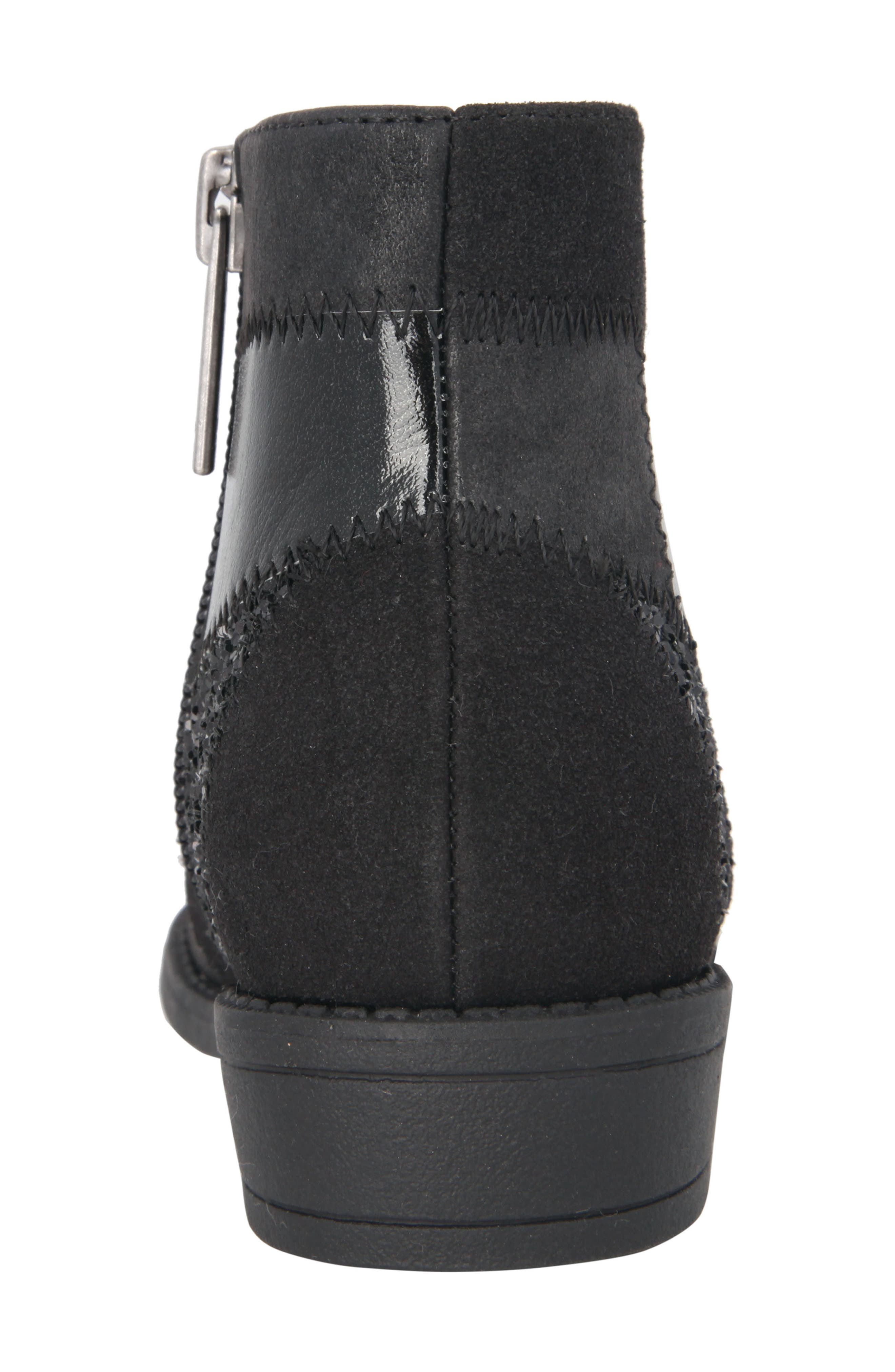 Ines Glittery Patchwork Bootie,                             Alternate thumbnail 7, color,                             Black Metallic/ Black Glitter