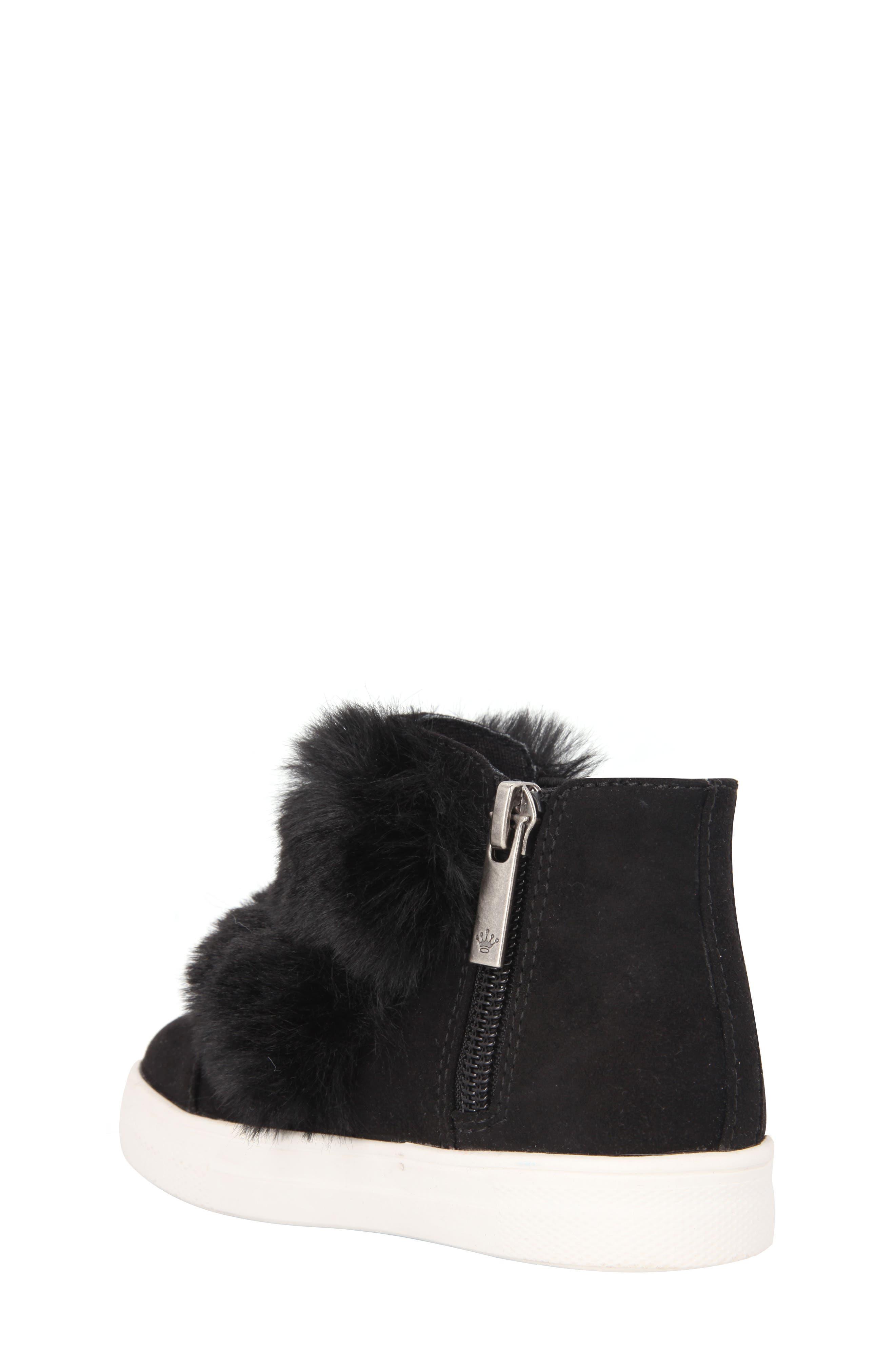 Helen Faux Fur Bootie Sneaker,                             Alternate thumbnail 2, color,                             Black Microsuede