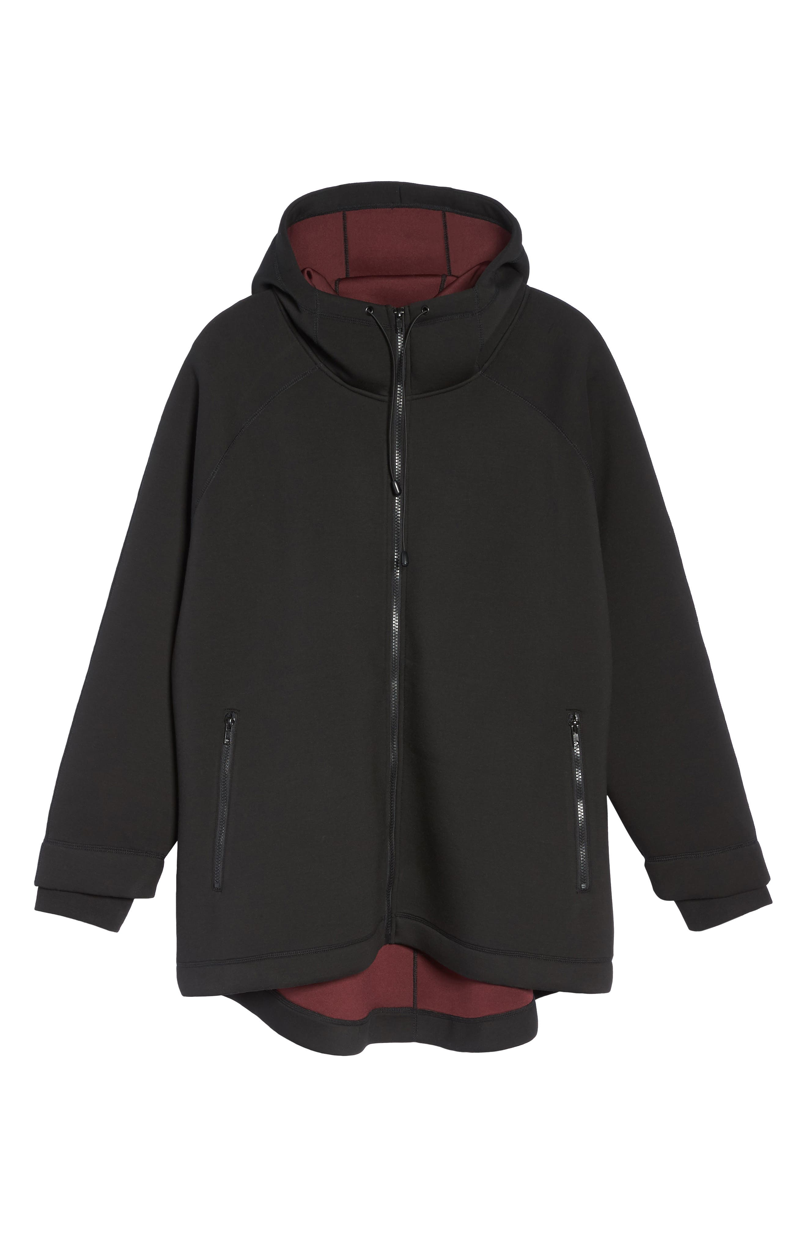 Mono Knit Drawstring Hooded Jacket,                             Alternate thumbnail 6, color,                             Black/ Burgundy