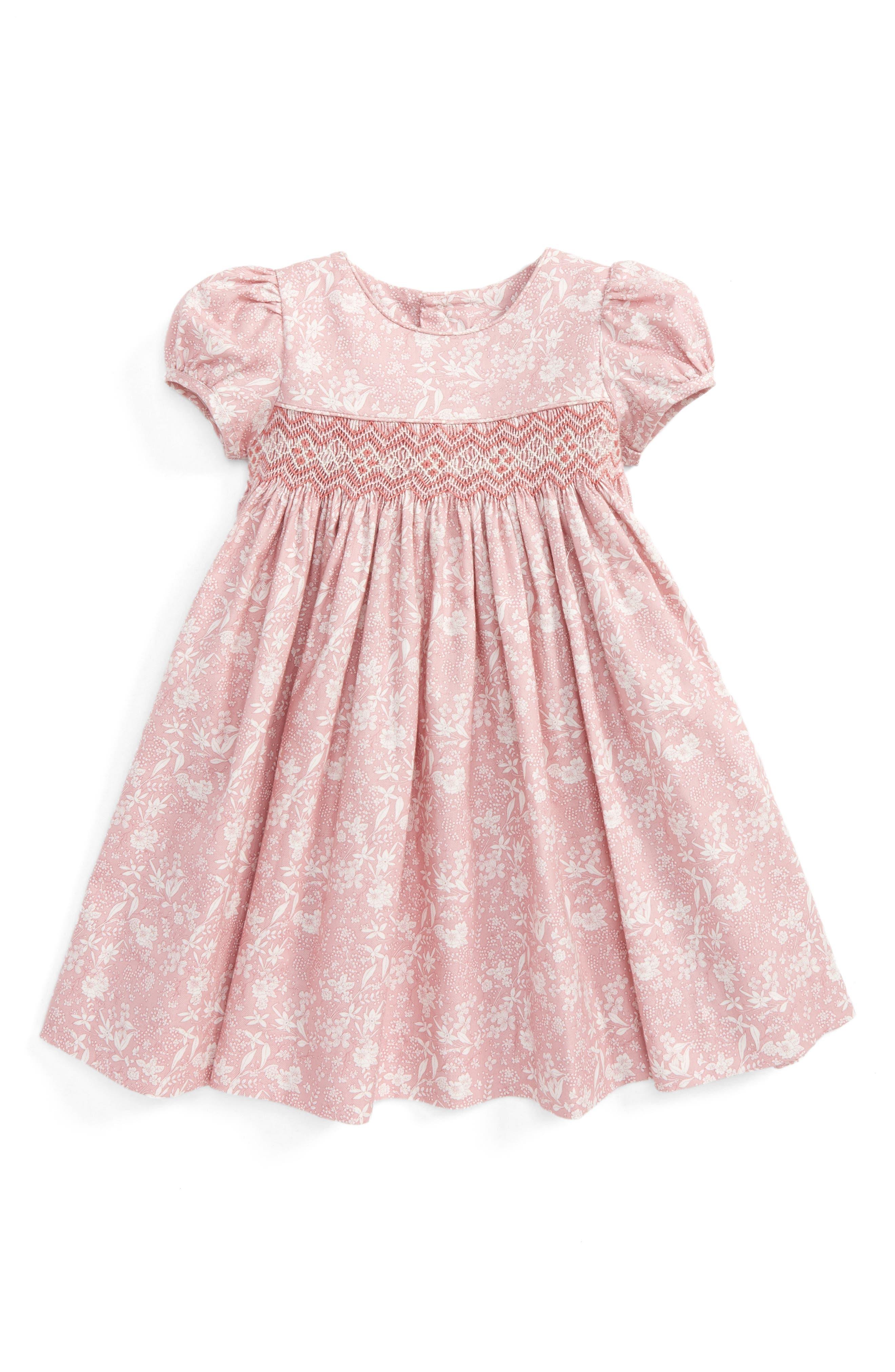 Luli & Me Floral Print Smocked Dress (Baby Girls)
