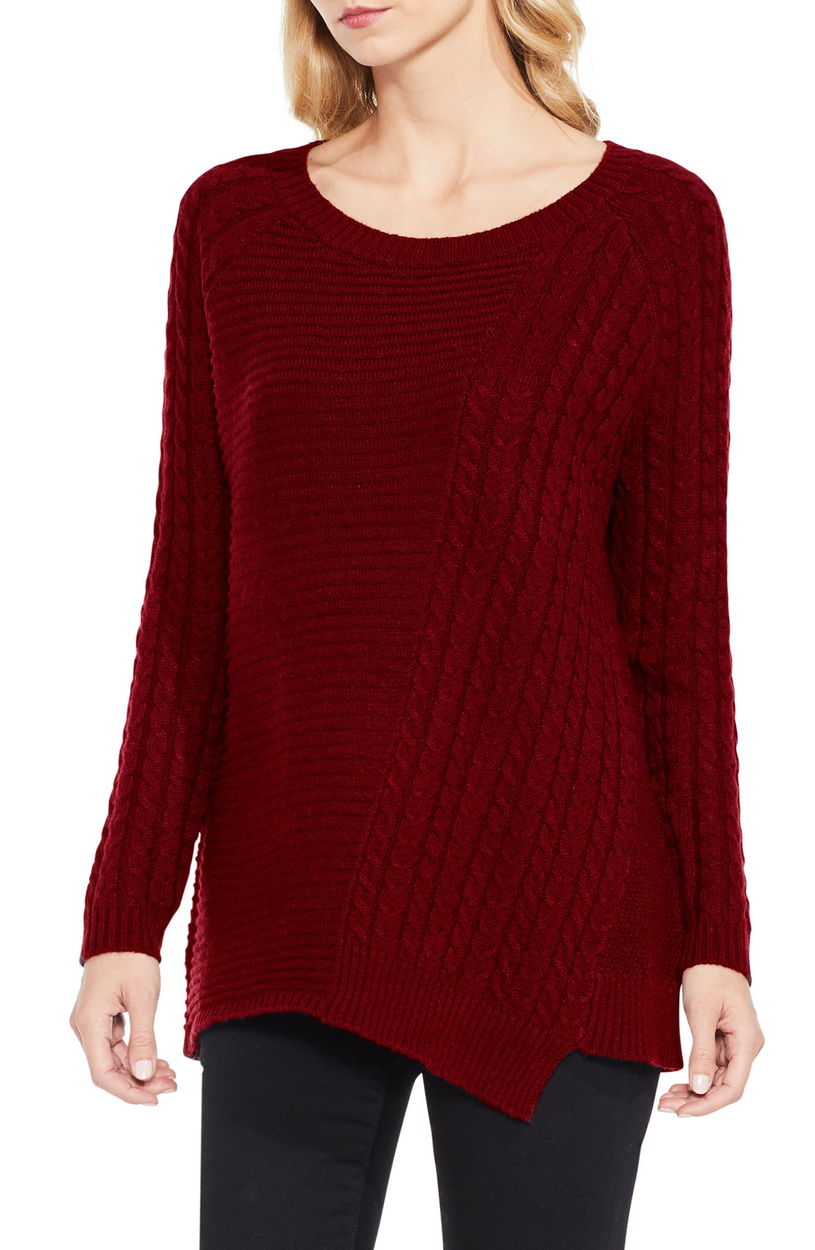 Mixed Stitch Sweater,                         Main,                         color, Russet Red