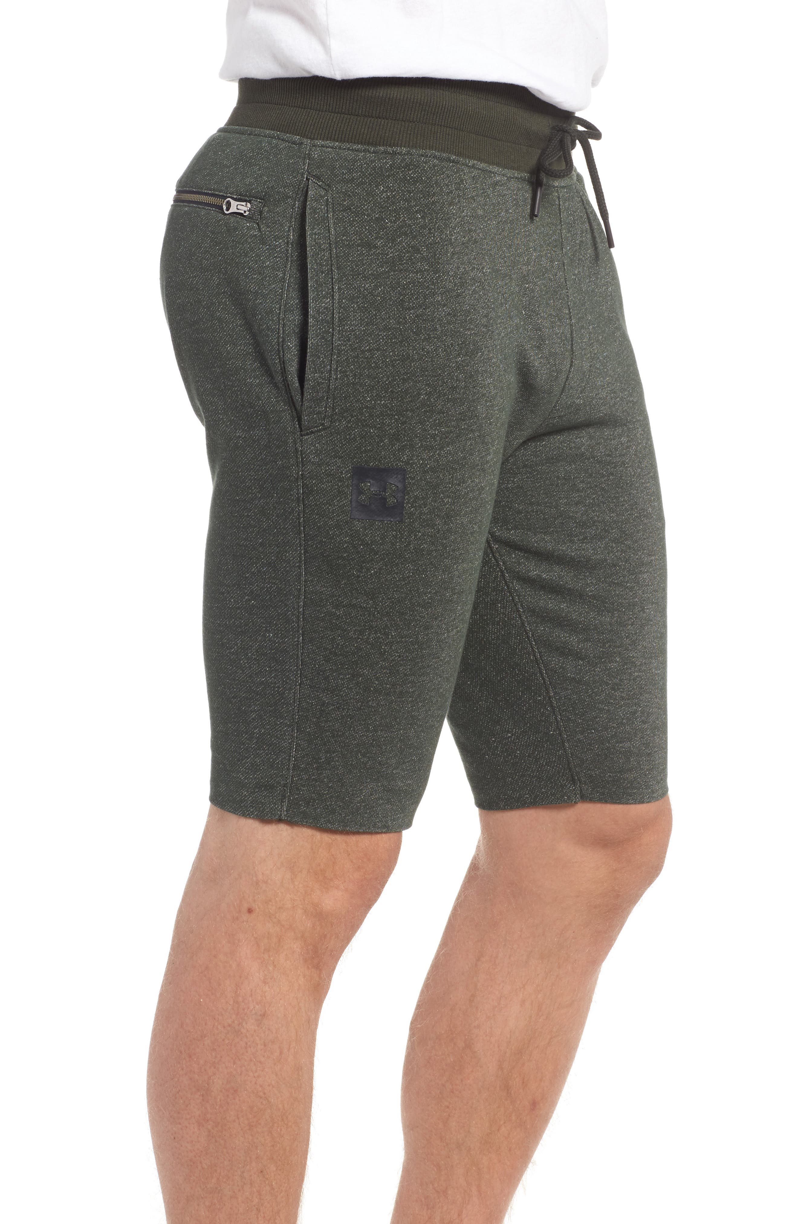 Terry Knit Athletic Shorts,                             Alternate thumbnail 3, color,                             Artillery Green / Black