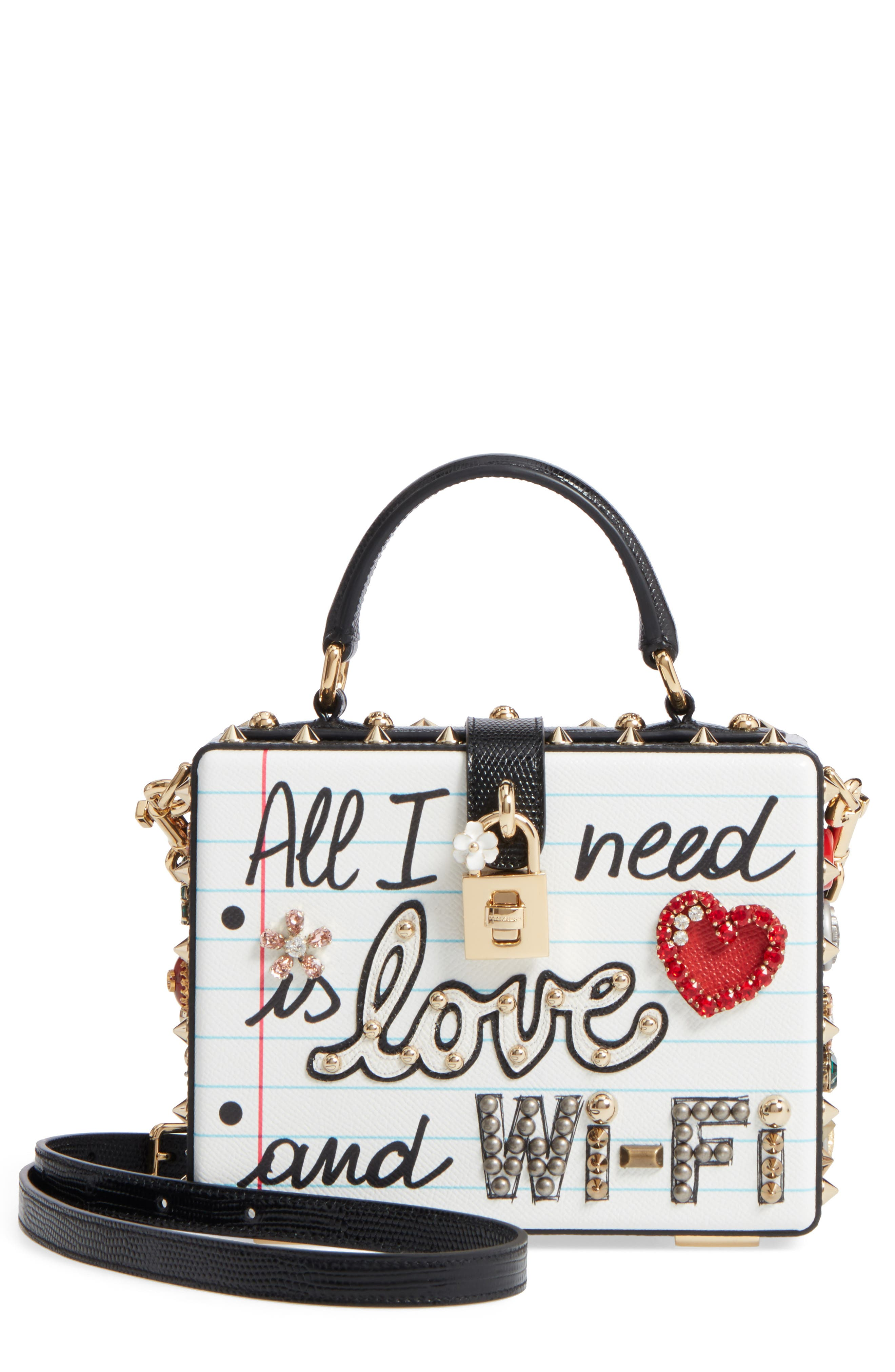 Main Image - Dolce&Gabbana Dolce Embellished Leather Box Bag