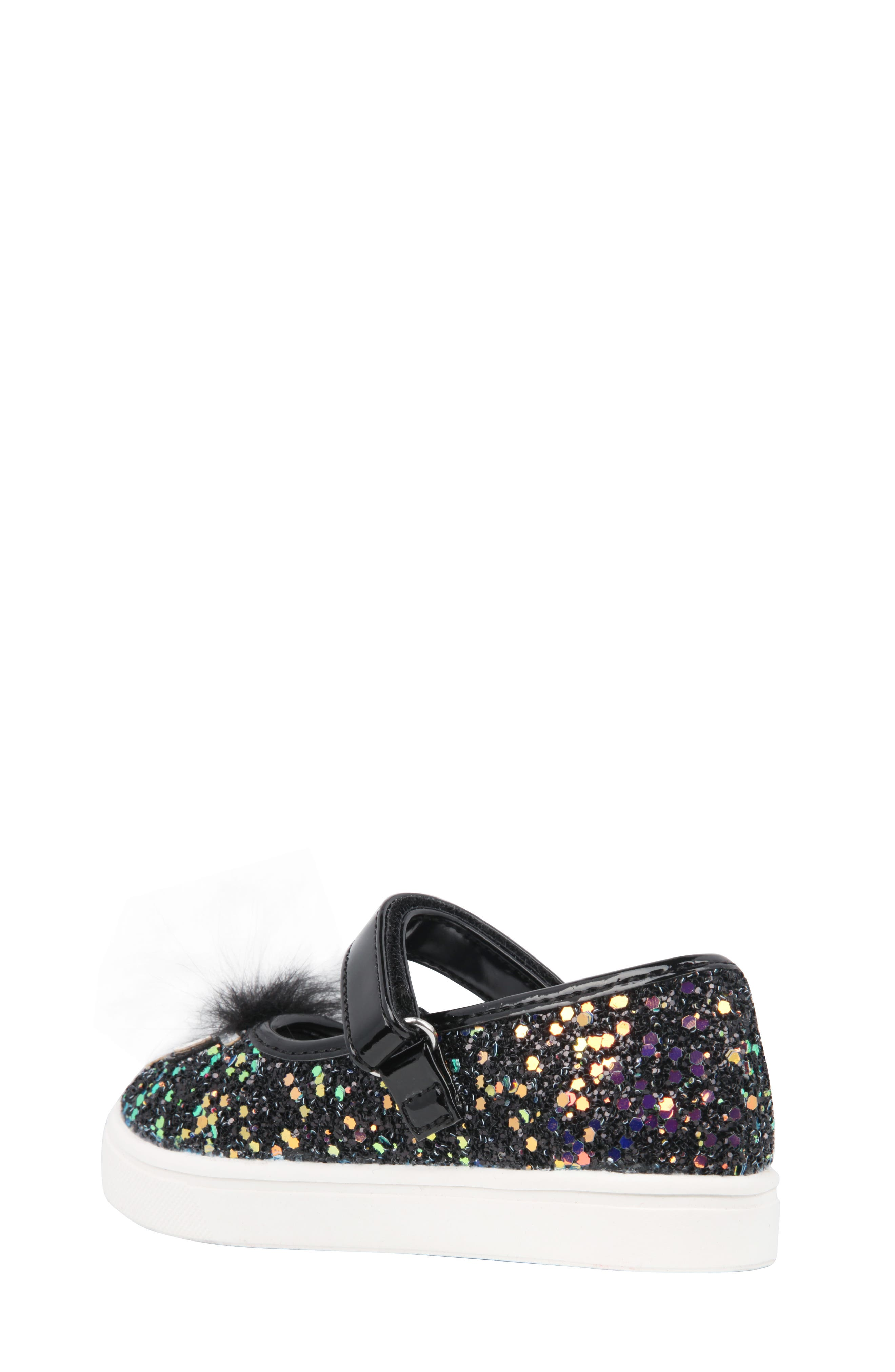 Alyx Faux Fur Glittery Mary Jane Sneaker,                             Alternate thumbnail 2, color,                             Black Chunky Glitter
